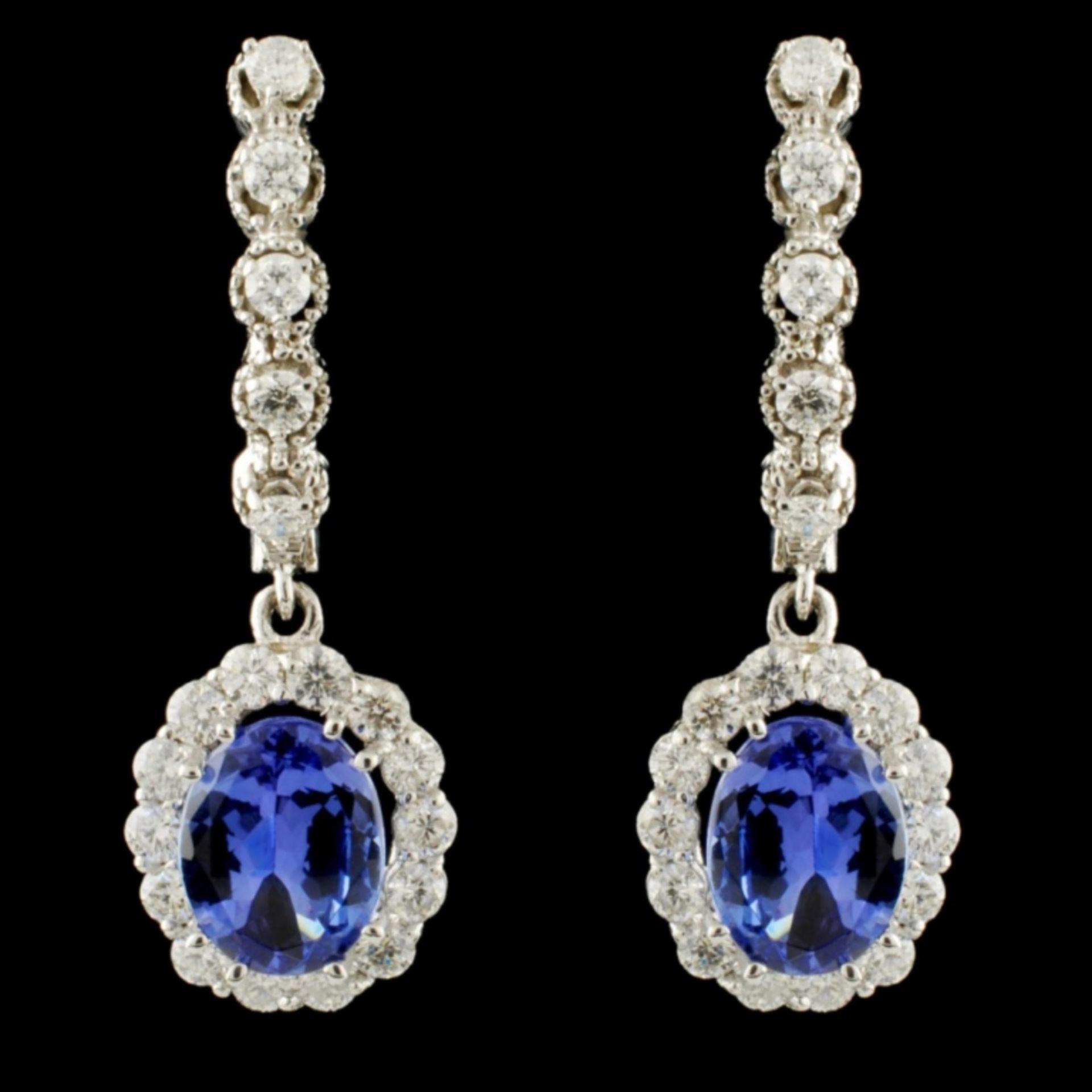 14K Gold 4.00ct Tanzanite & 1.50ctw Diamond Earrin