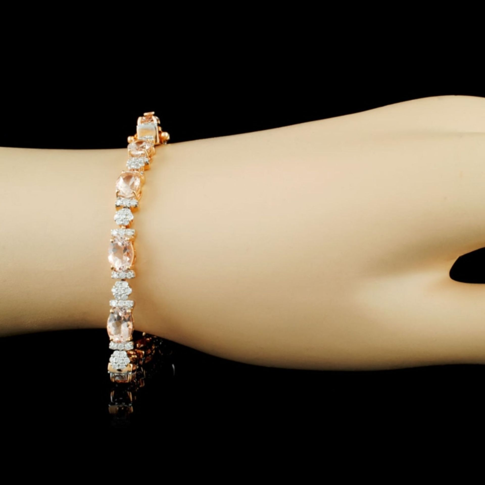 14K Gold 9.15ct Morganite & 1.50ctw Diamond Bracel - Image 3 of 4