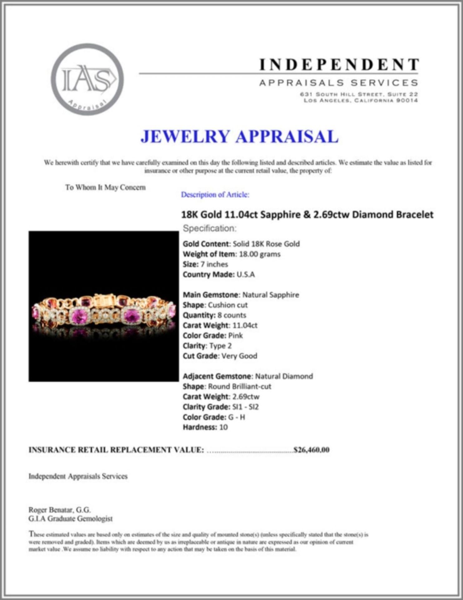 18K Gold 11.04ct Sapphire & 2.69ctw Diamond Bracel - Image 4 of 4