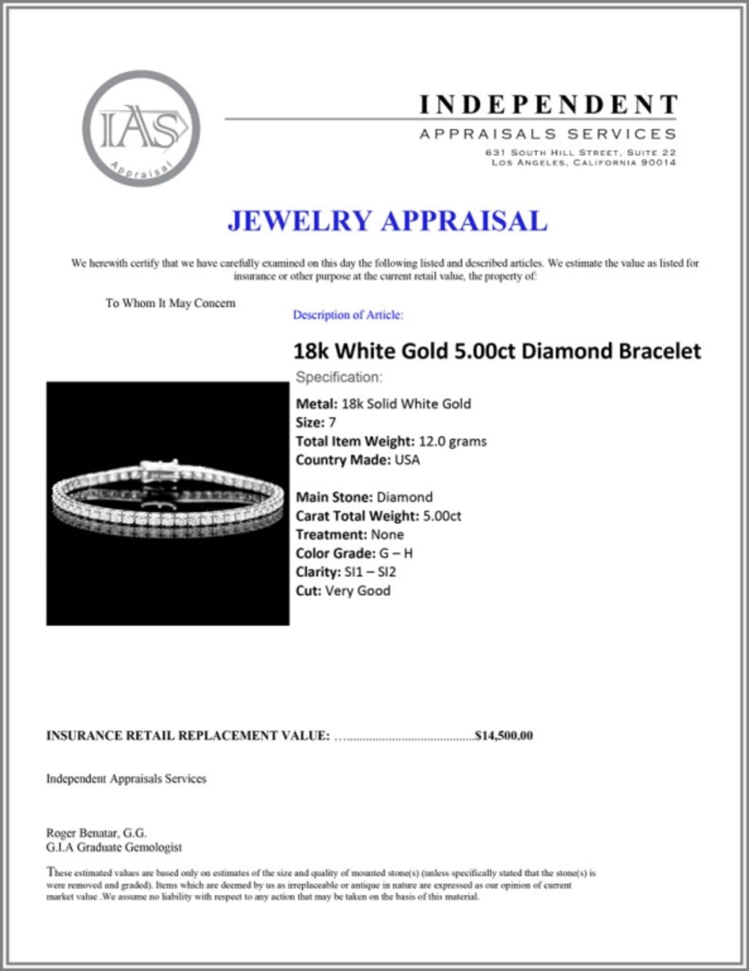 18k White Gold 5.00ct Diamond Bracelet - Image 3 of 3