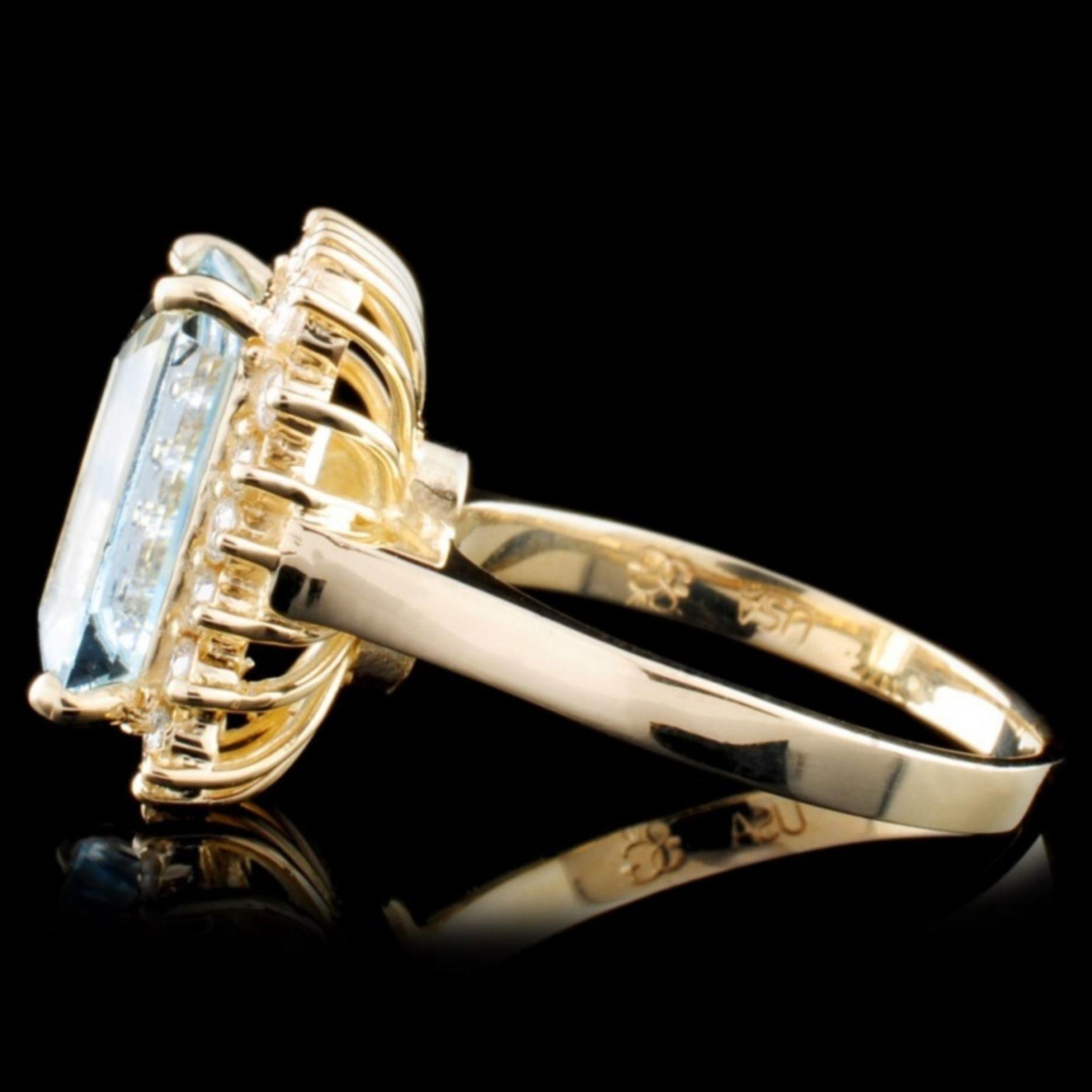 14K Gold 5.45ct Aquamarine & 0.52ctw Diamond Ring - Image 3 of 4