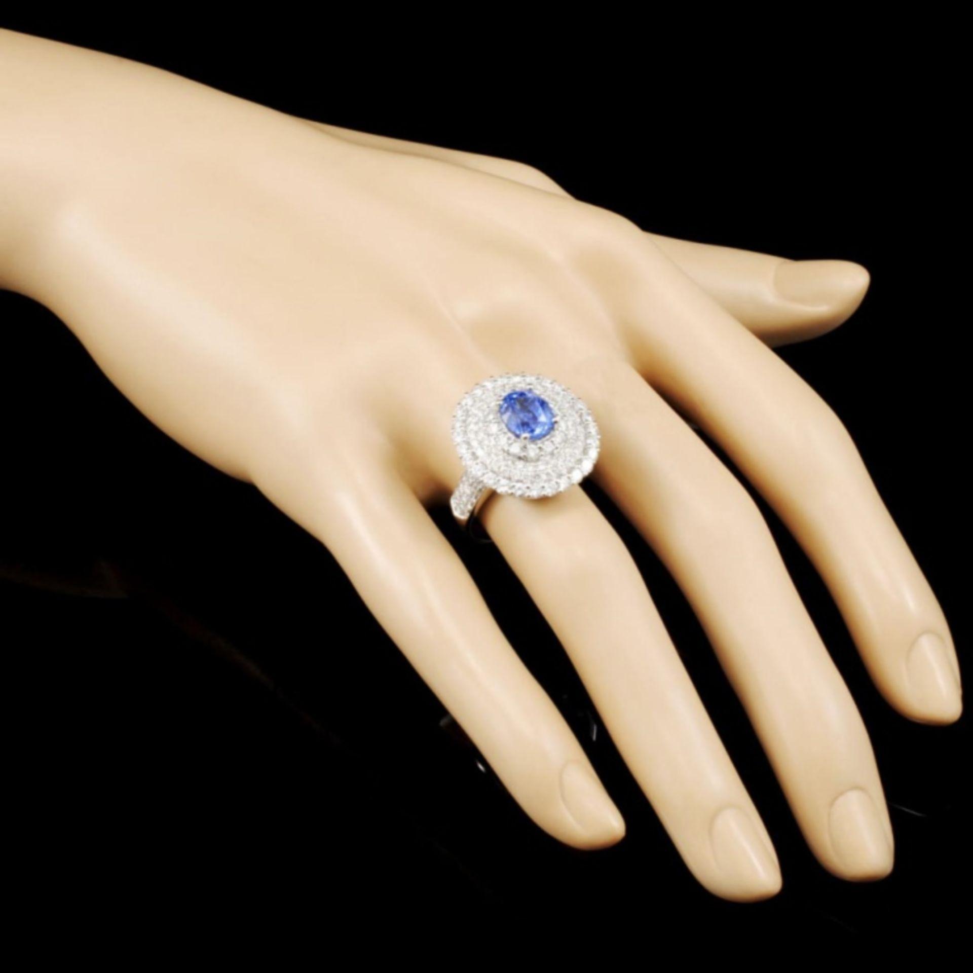 18K Gold 2.71ct Sapphire & 2.52ctw Diamond Ring - Image 3 of 5