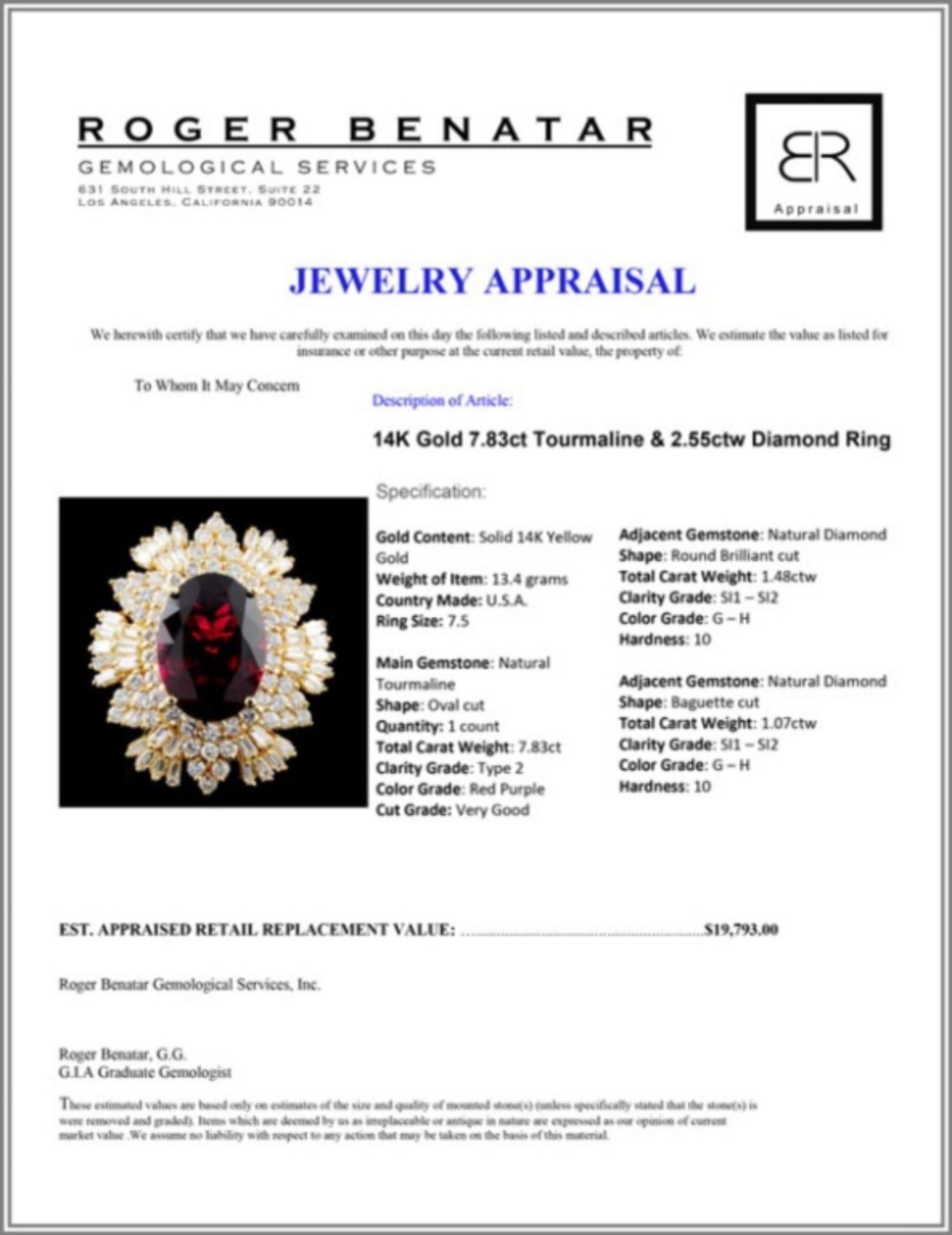 14K Gold 7.83ct Tourmaline & 2.55ctw Diamond Ring - Image 4 of 4