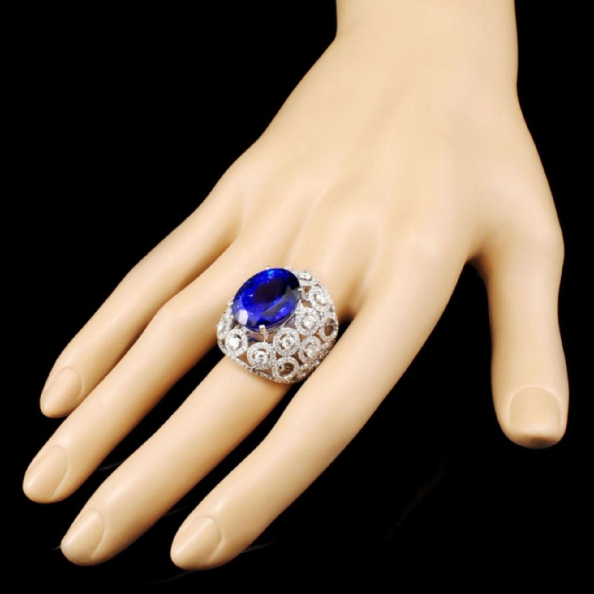18K Gold 15.49ct Tanzanite & 2.68ctw Diamond Ring - Image 3 of 5