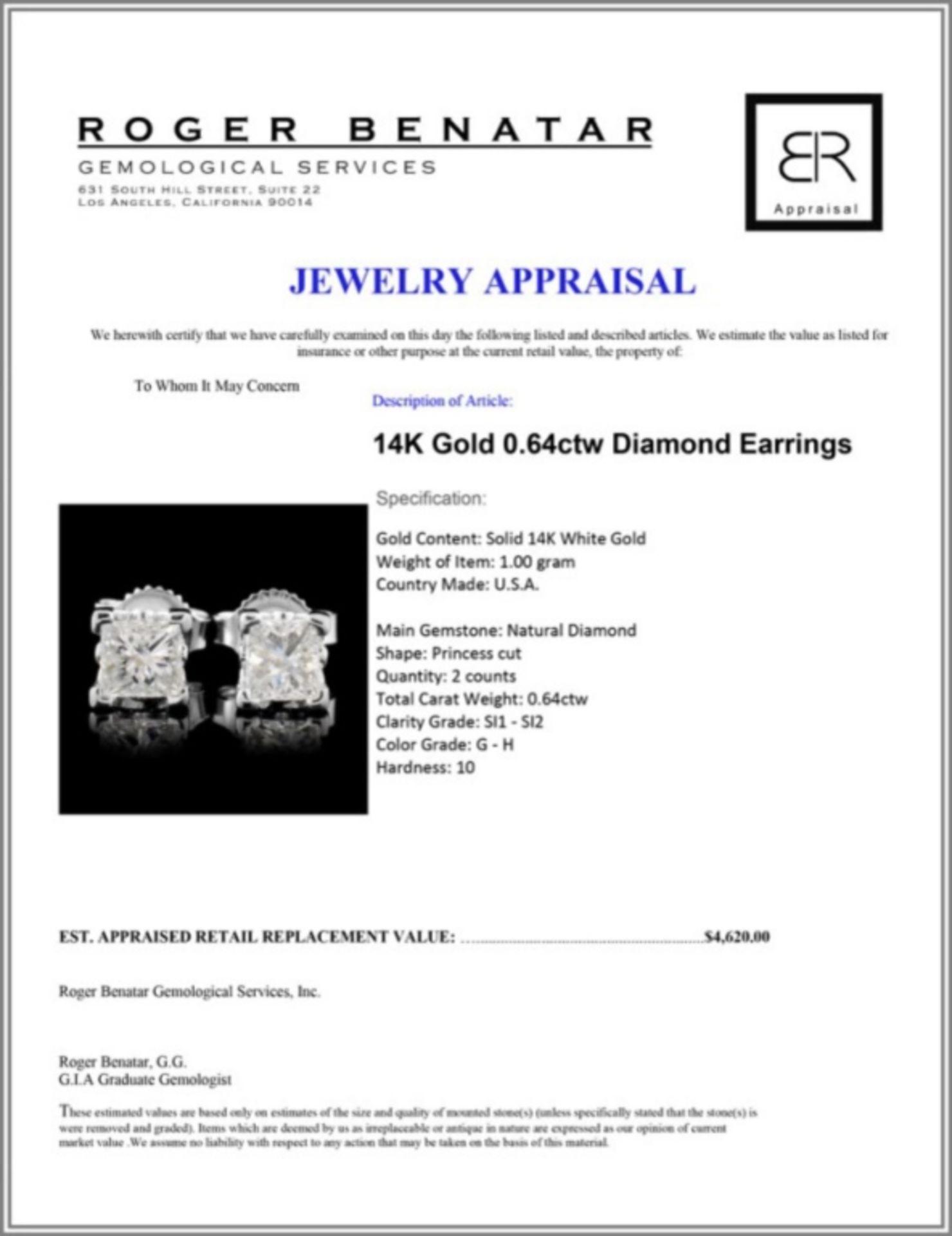 14K Gold 0.64ctw Diamond Earrings - Image 3 of 3