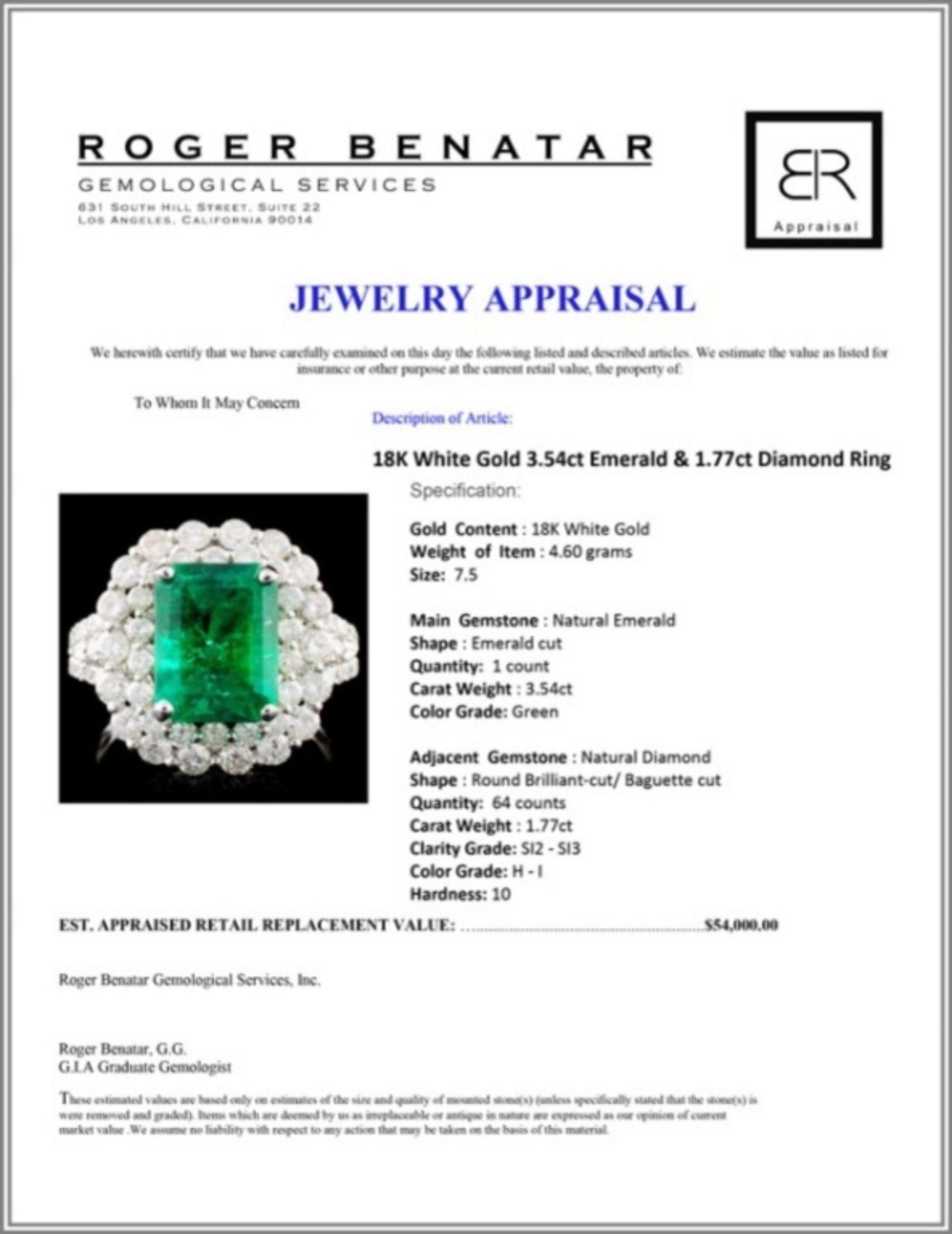 18K W Gold 3.54ct Emerald & 1.77ct Diamond Ring - Image 4 of 4