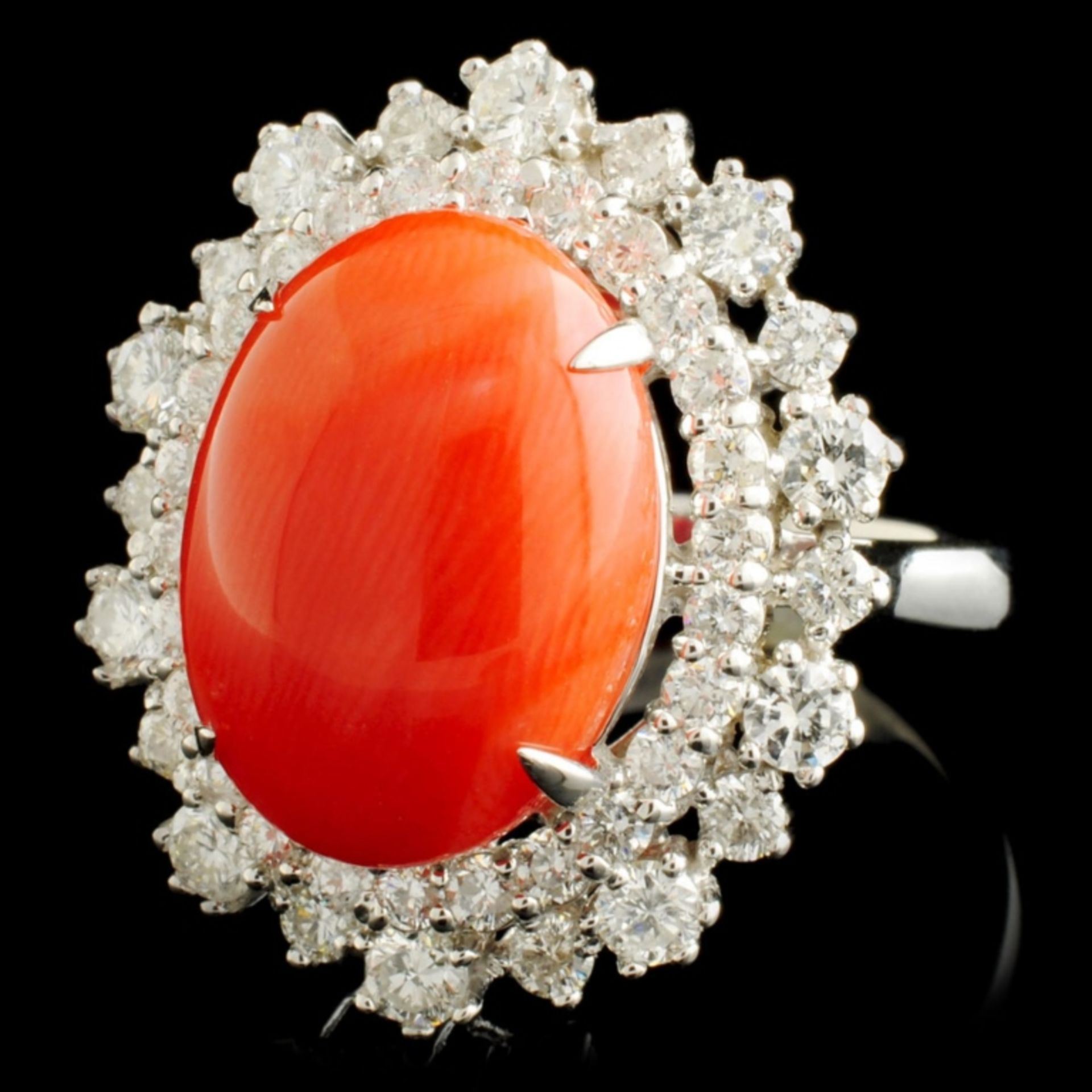 14K Gold 5.47ct Coral & 1.82ctw Diamond Ring - Image 2 of 5