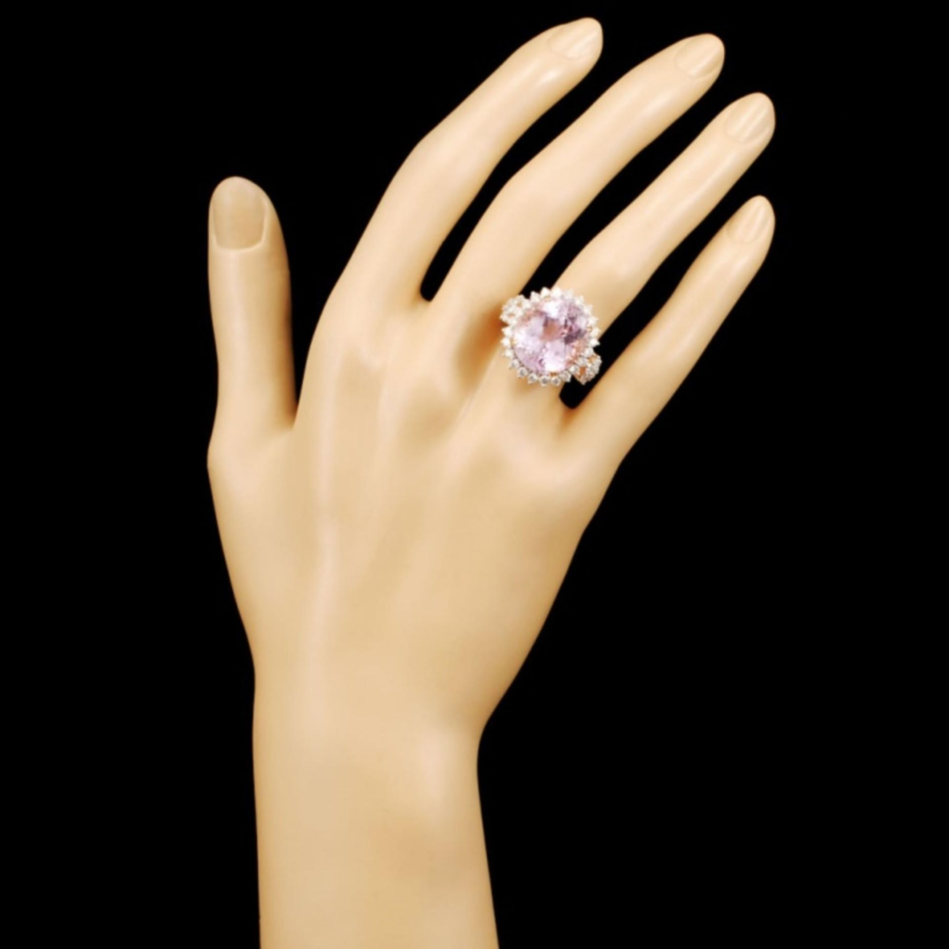 14K Rose Gold 17.00ct Kunzite & 1.32ctw Diamond Ri - Image 4 of 5