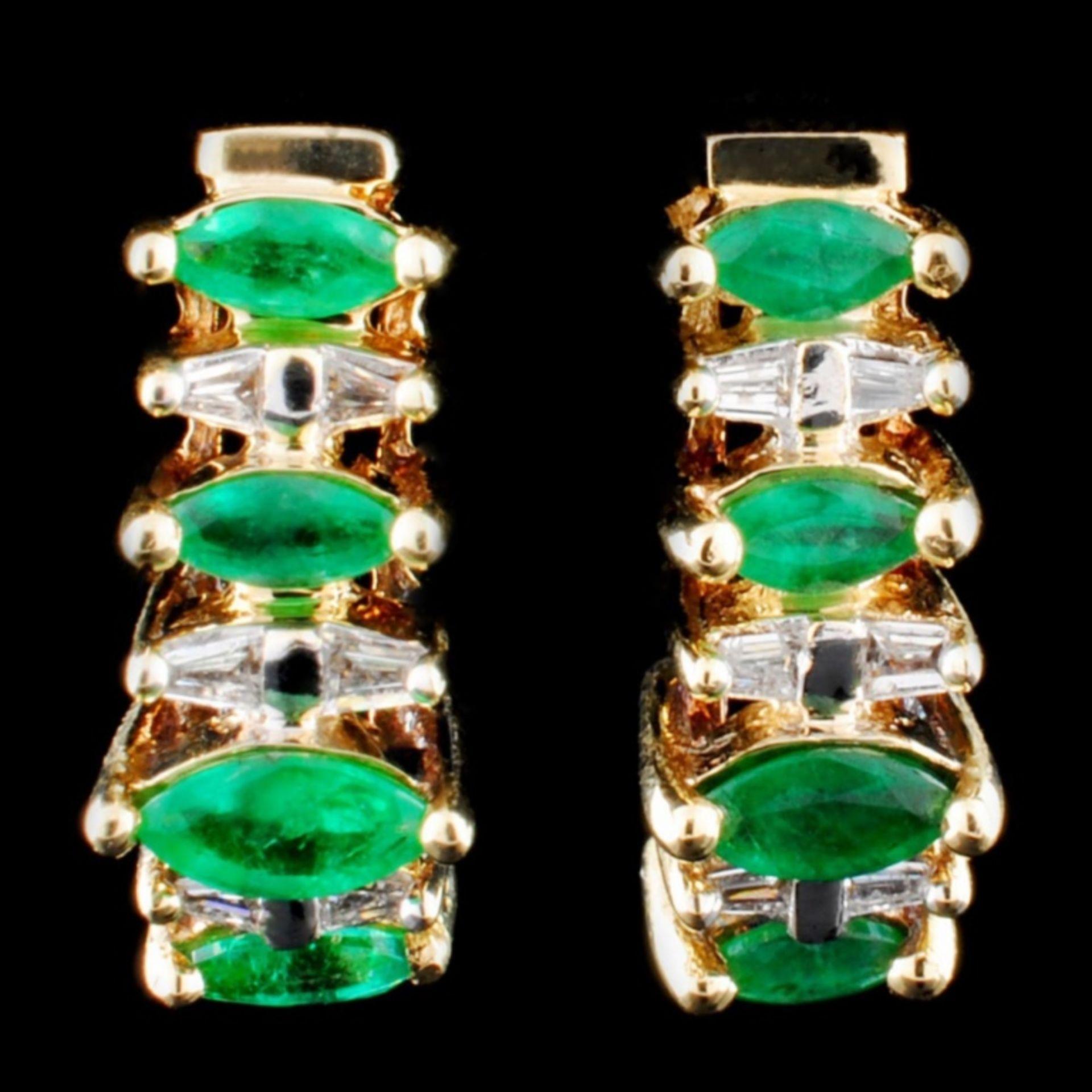 14K Gold 0.46ct Emerald & 0.22ct Diamond Earrings - Image 2 of 3