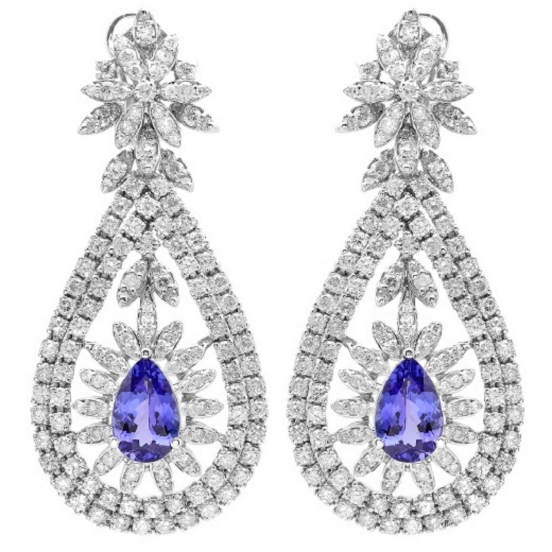 14K Gold 6.00ct Tanzanite & 7.20ct Diamond Earring