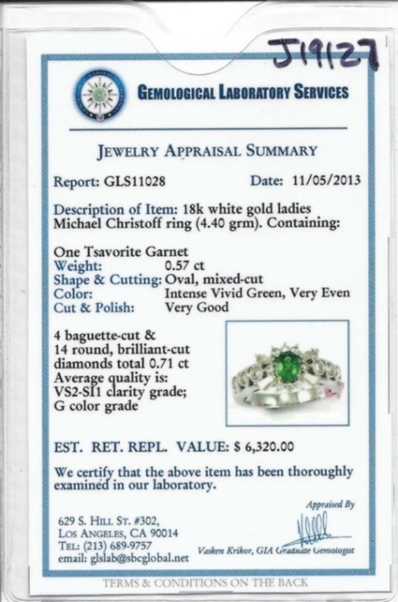 18K White Gold .57ct Tsavorite & 0.71ct Diamond Ri - Image 3 of 3