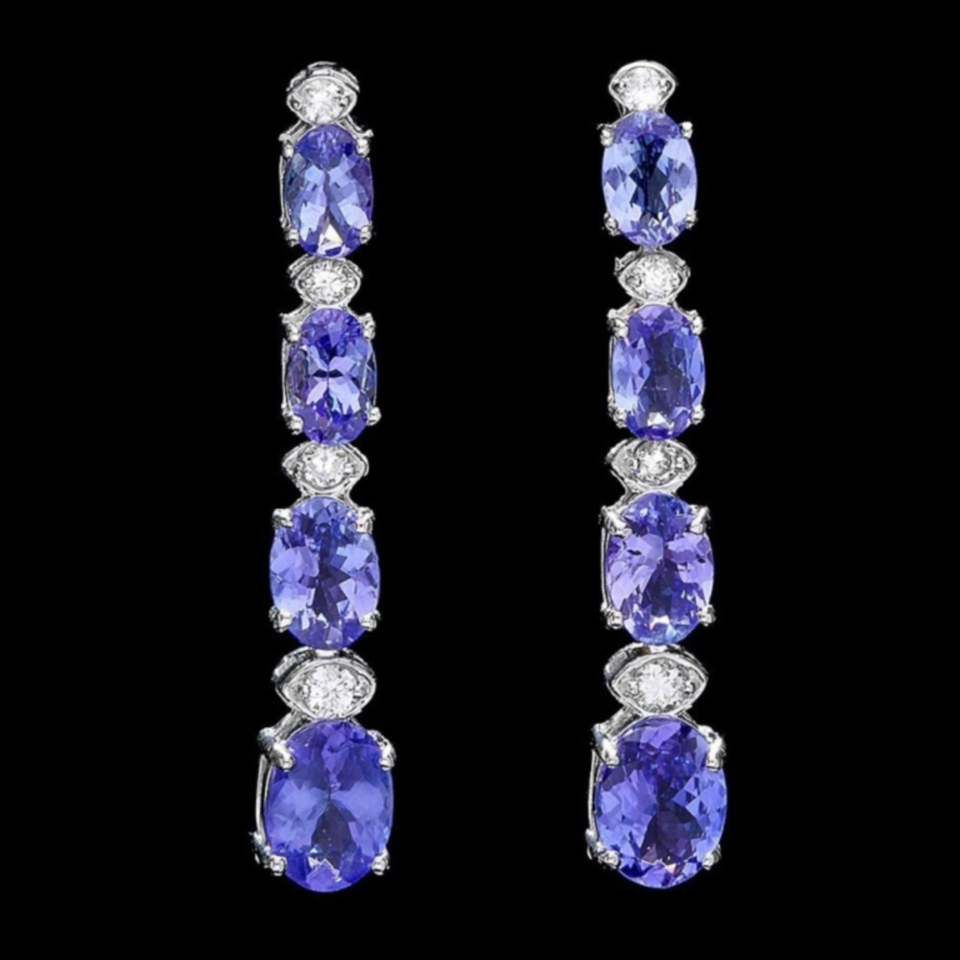 `14k Gold 7.00ct Tanzanite & 0.50ct Diamond Earrin