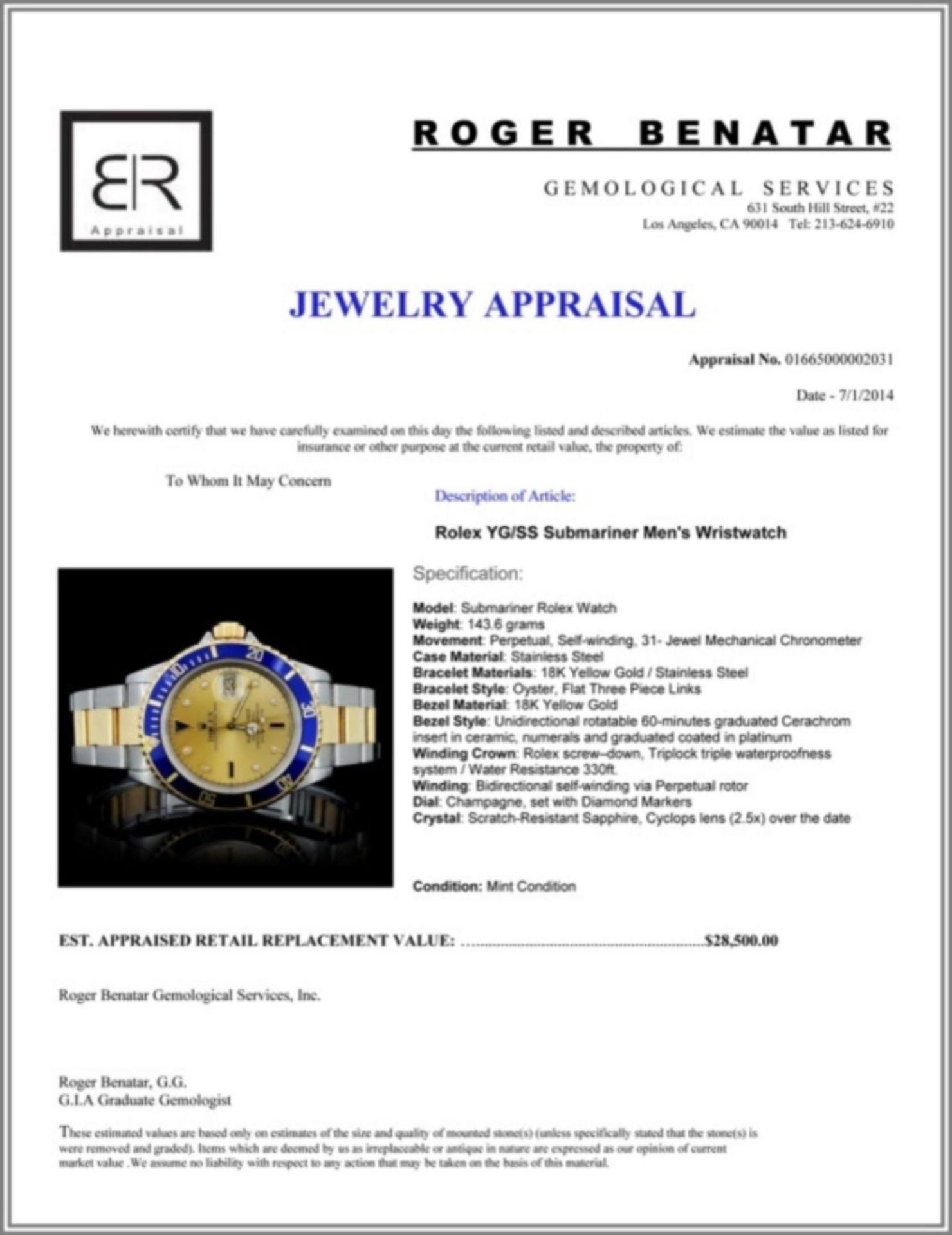 Rolex YG/SS Submariner Men's Wristwatch - Image 5 of 6