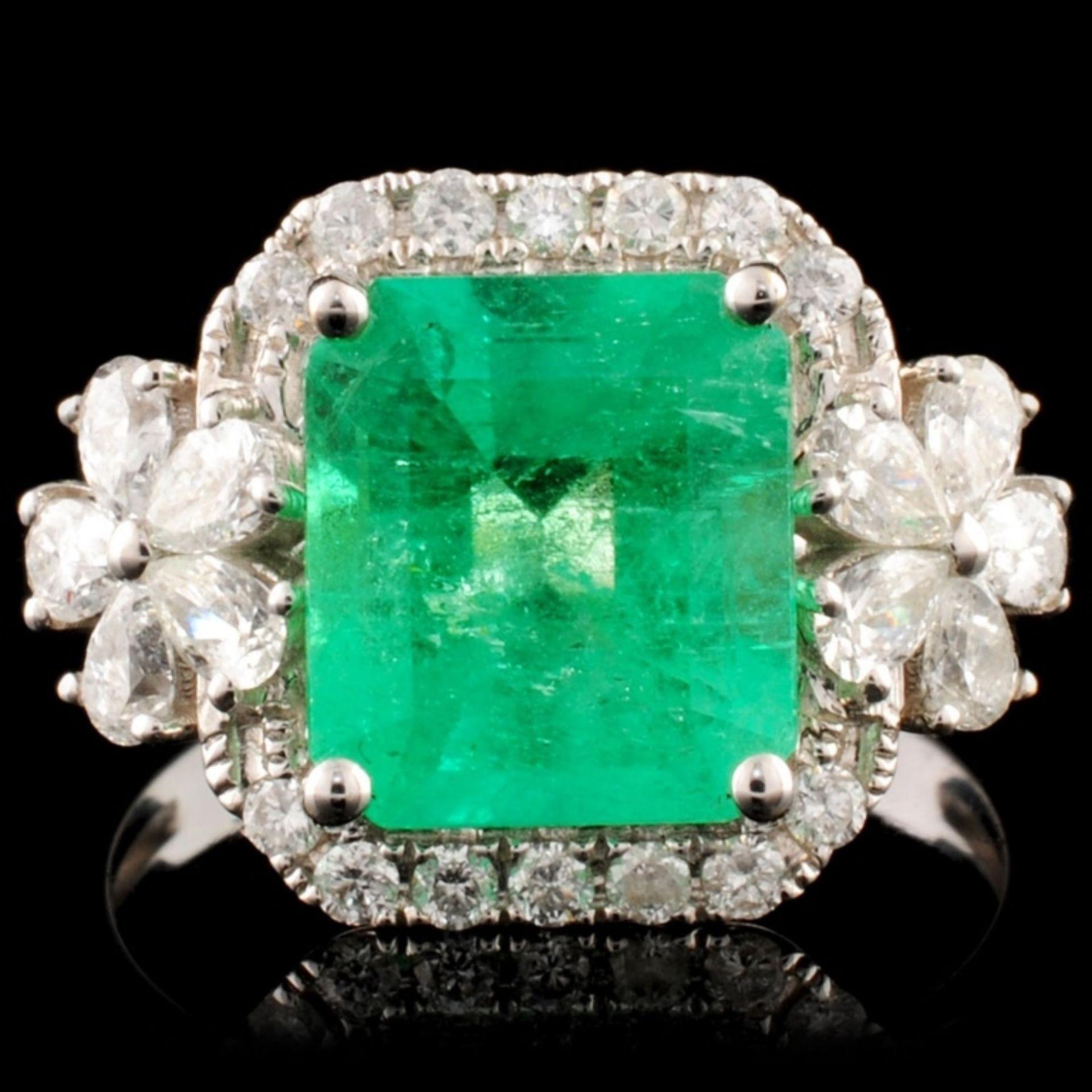 18K Gold 2.60ct Emerald & 0.77ctw Diamond Ring