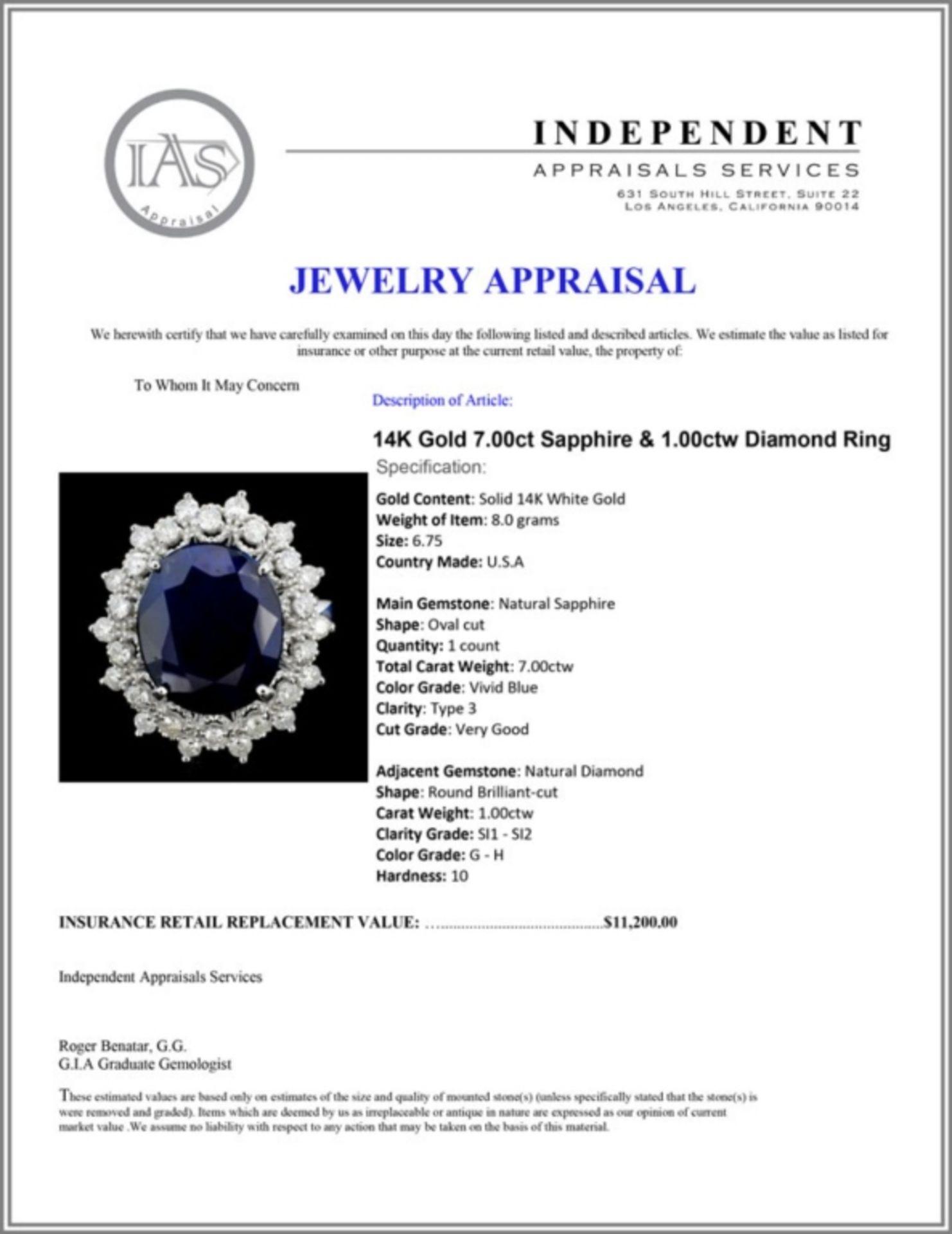 14K Gold 7.00ct Sapphire & 1.00ctw Diamond Ring - Image 4 of 4