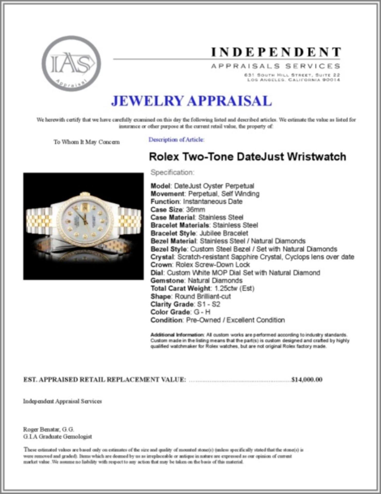 Rolex YG/SS 36MM DateJust Diamond Watch - Image 5 of 5