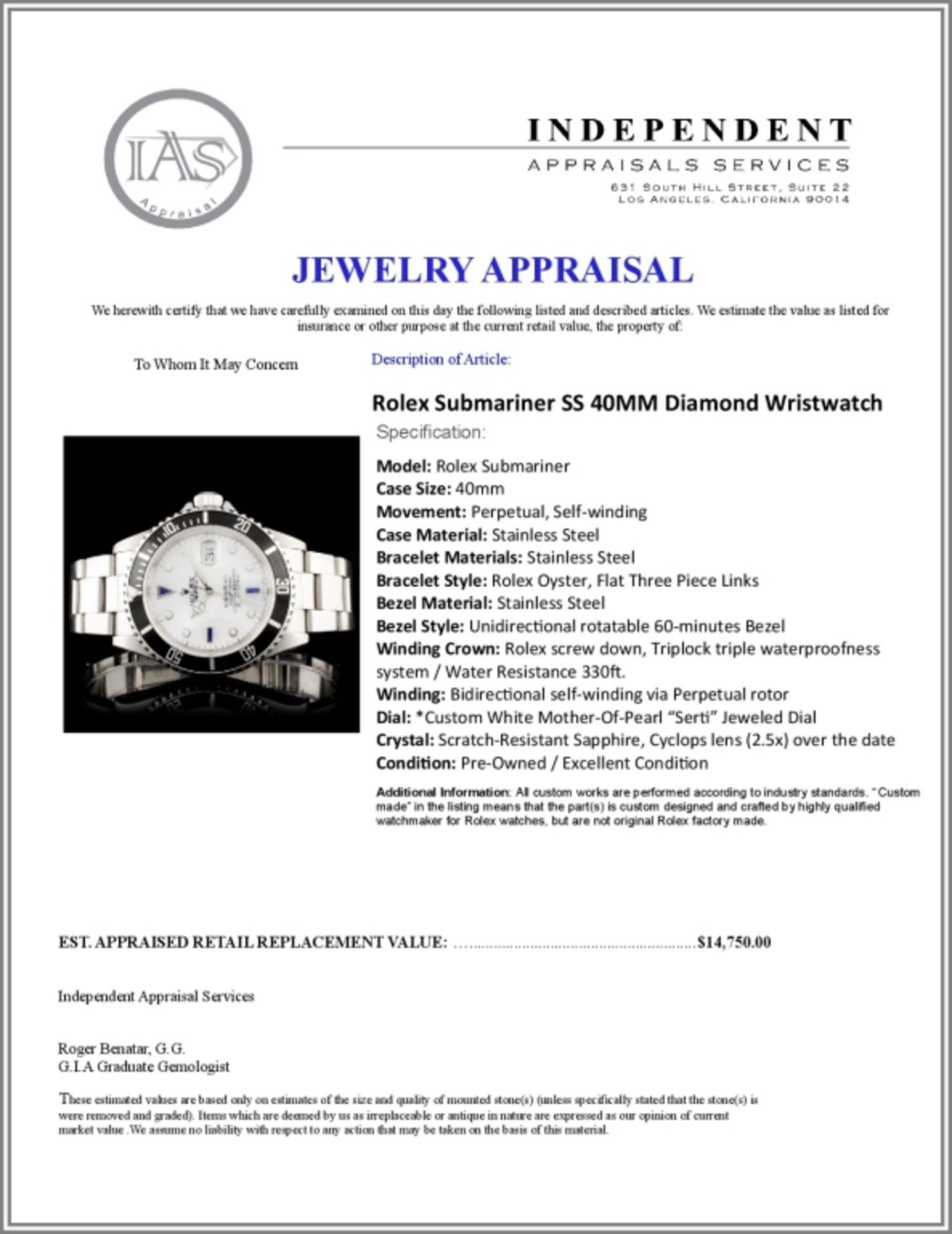 Rolex Submariner SS 40MM Diamond Wristwatch - Image 7 of 7