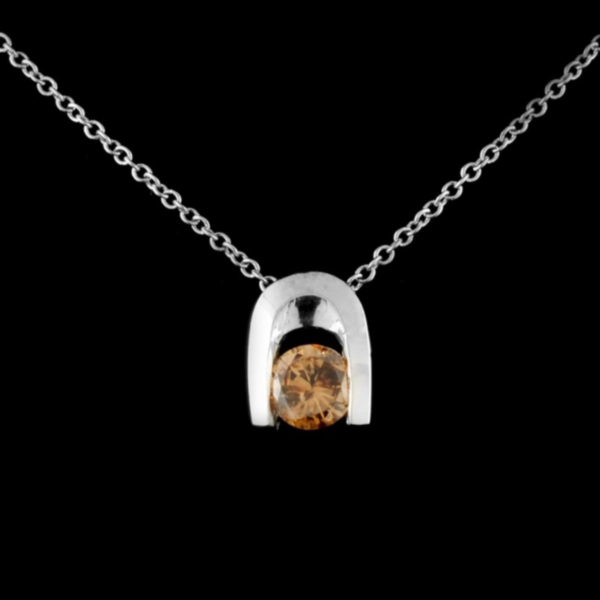 14K Gold 0.45ctw Fancy Color Diamond Pendant