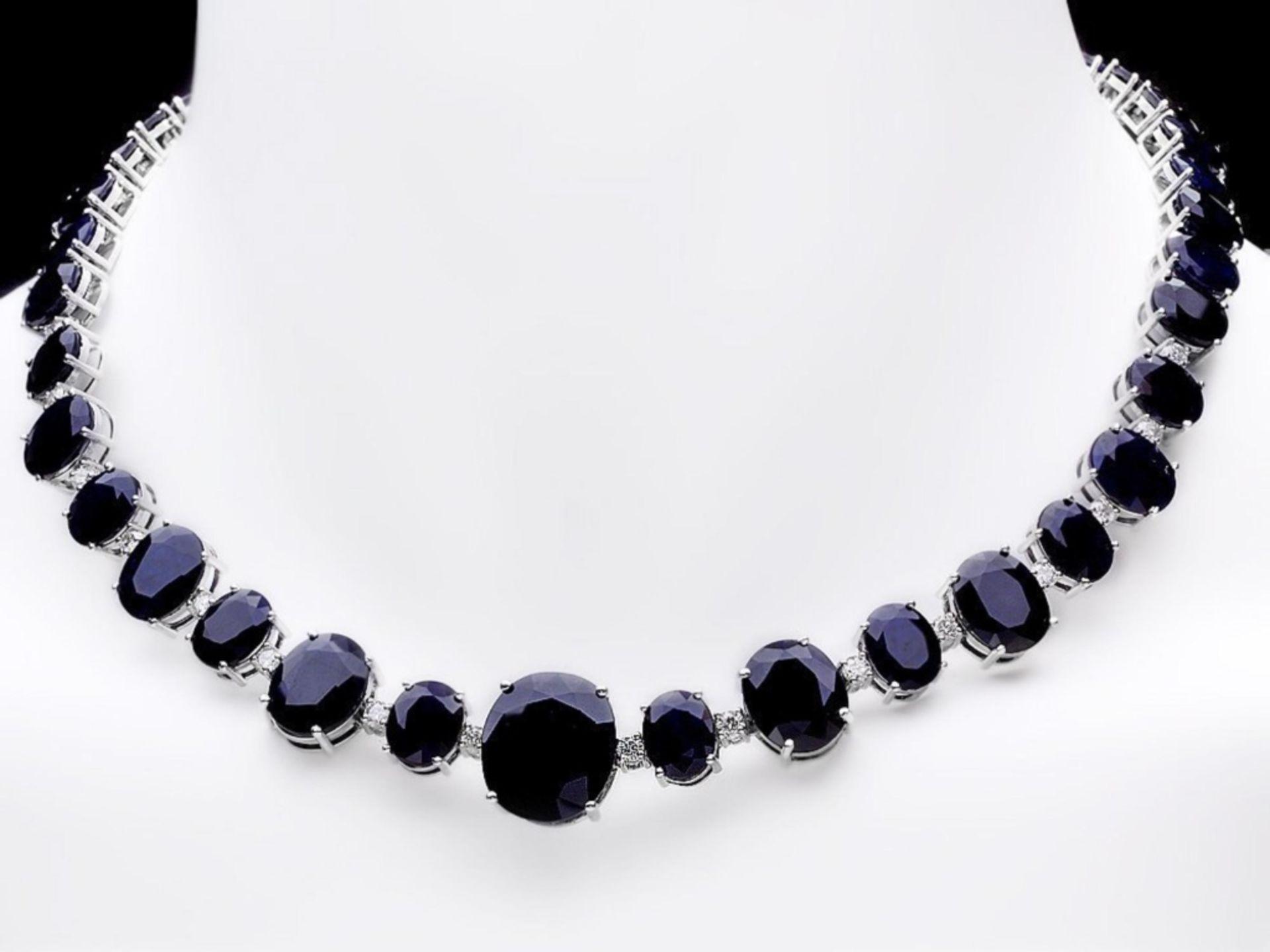 `14k Gold 170.00ct Sapphire & 2.00ct Diamond Neckl - Image 2 of 5