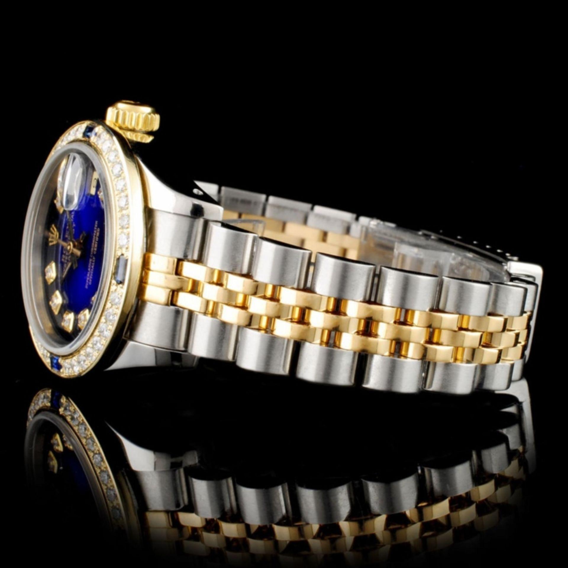 Rolex DateJust 18K & SS 1.00ct Diamond Blue Vignet - Image 6 of 8