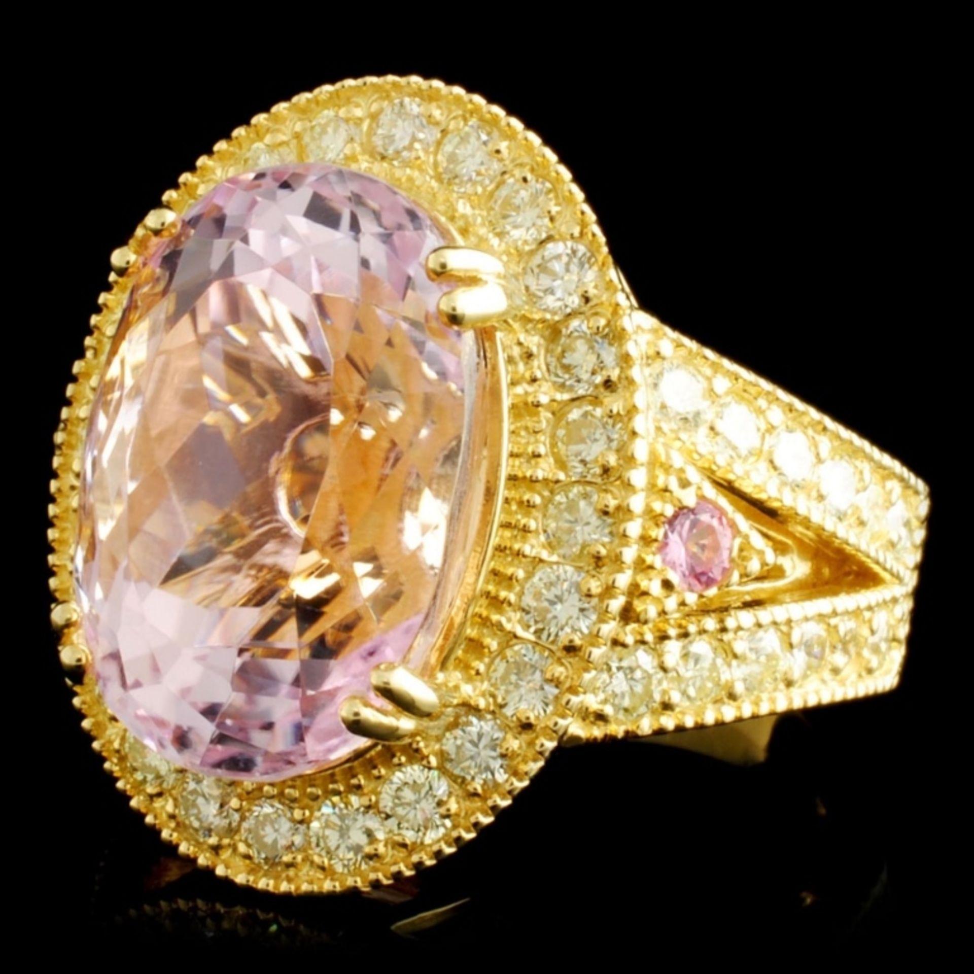 14K Gold 13.84ct Kunzite & 1.72ctw Diamond Ring - Image 2 of 5