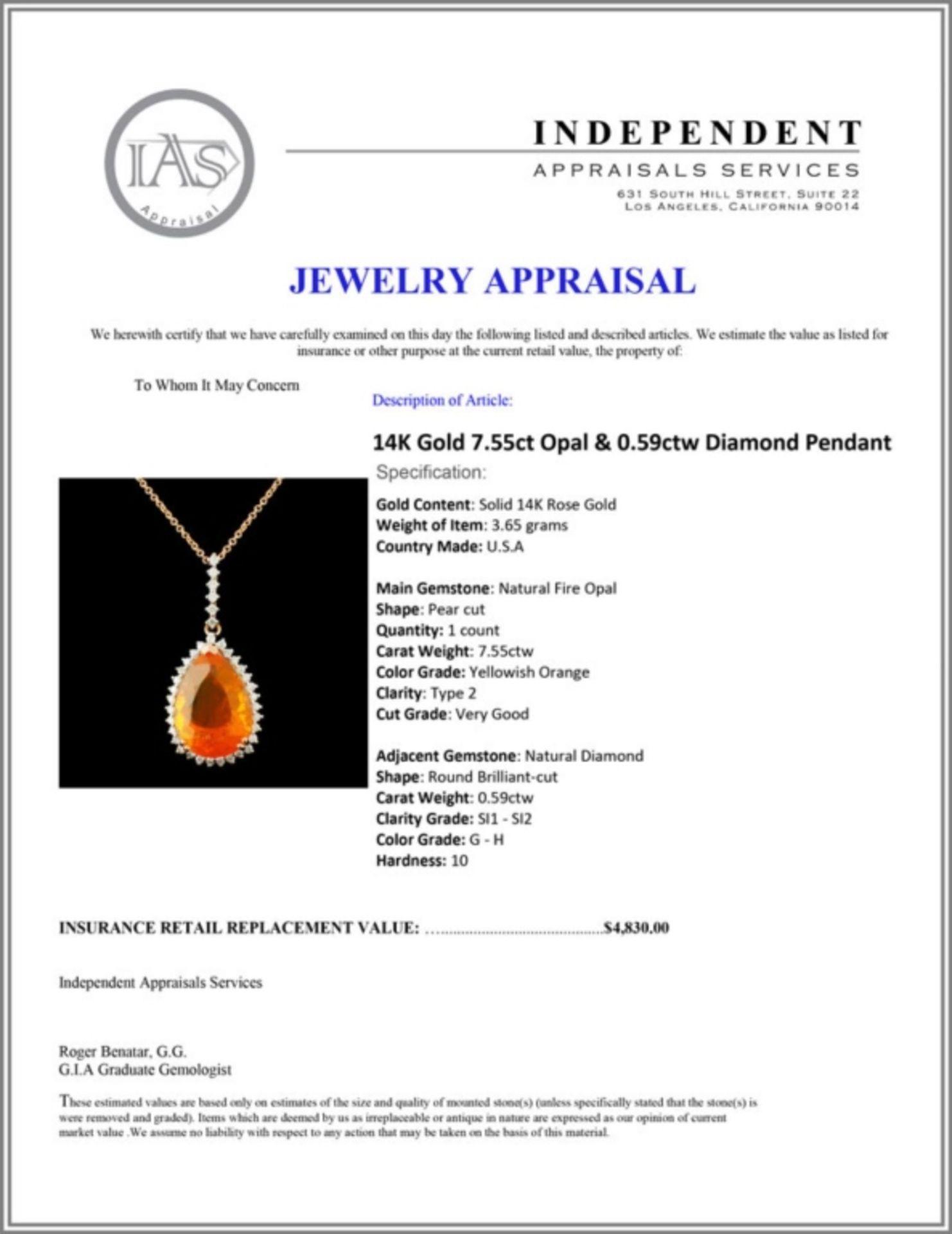 14K Gold 7.55ct Opal & 0.59ctw Diamond Pendant - Image 4 of 4