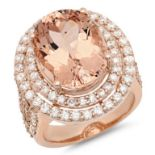 14K Gold 11.00ct Morganite & 2.00ct Morganite Ring