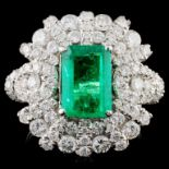 18K White Gold 1.77ct Emerald & 1.55ct Diamond Rin