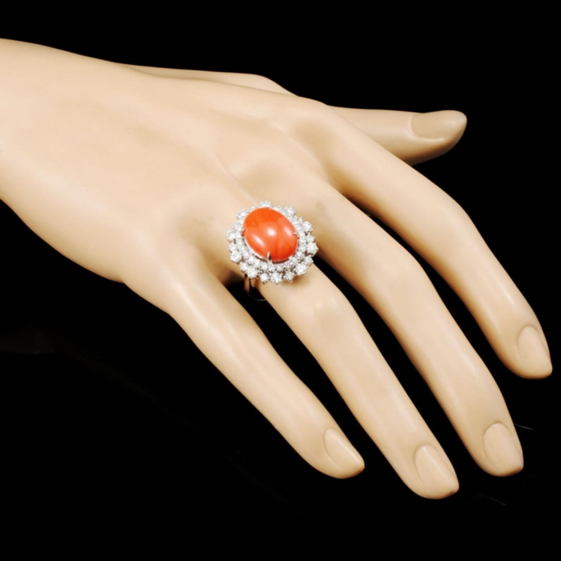 14K Gold 5.47ct Coral & 1.82ctw Diamond Ring - Image 3 of 5