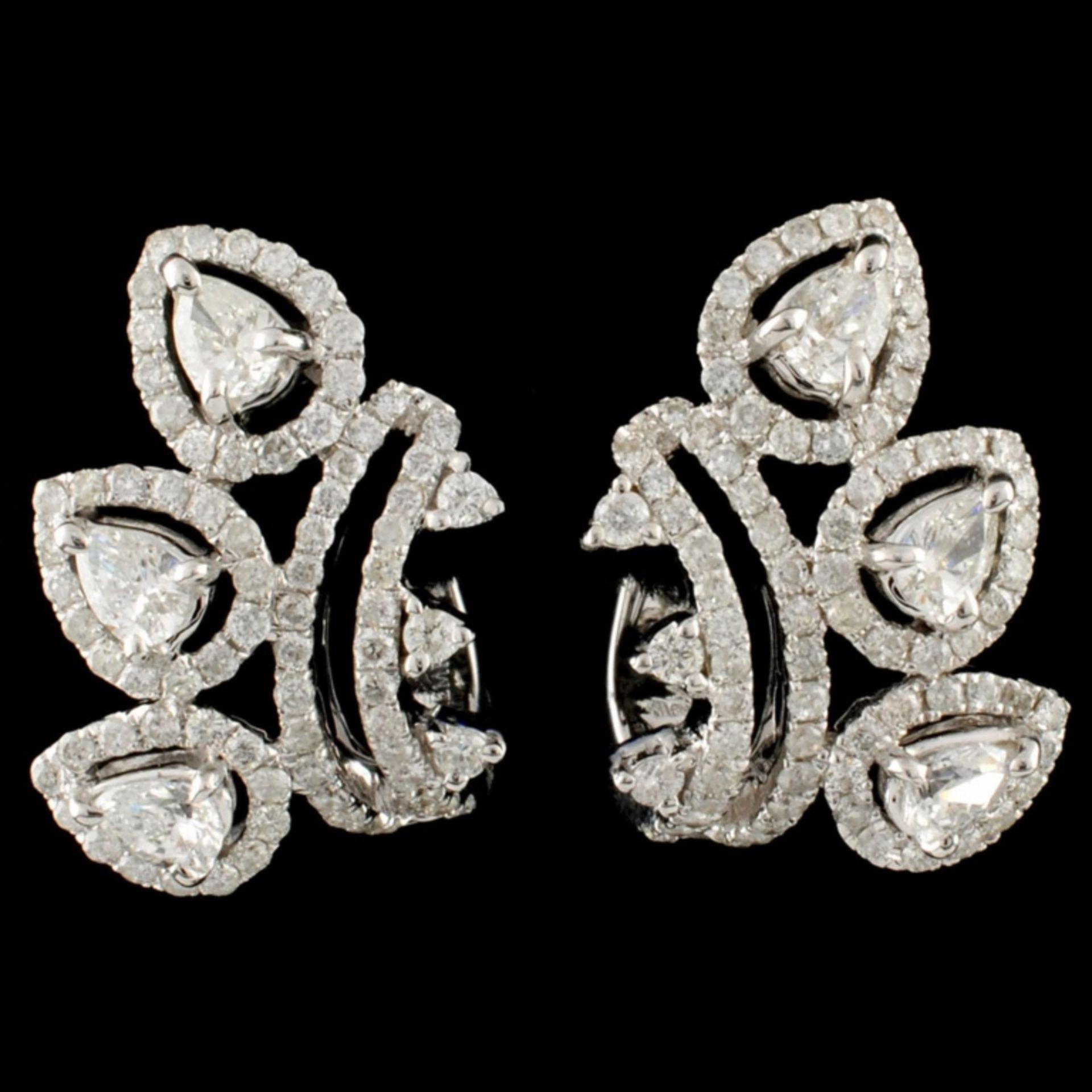 18K Gold 1.28ctw Diamond Earrings