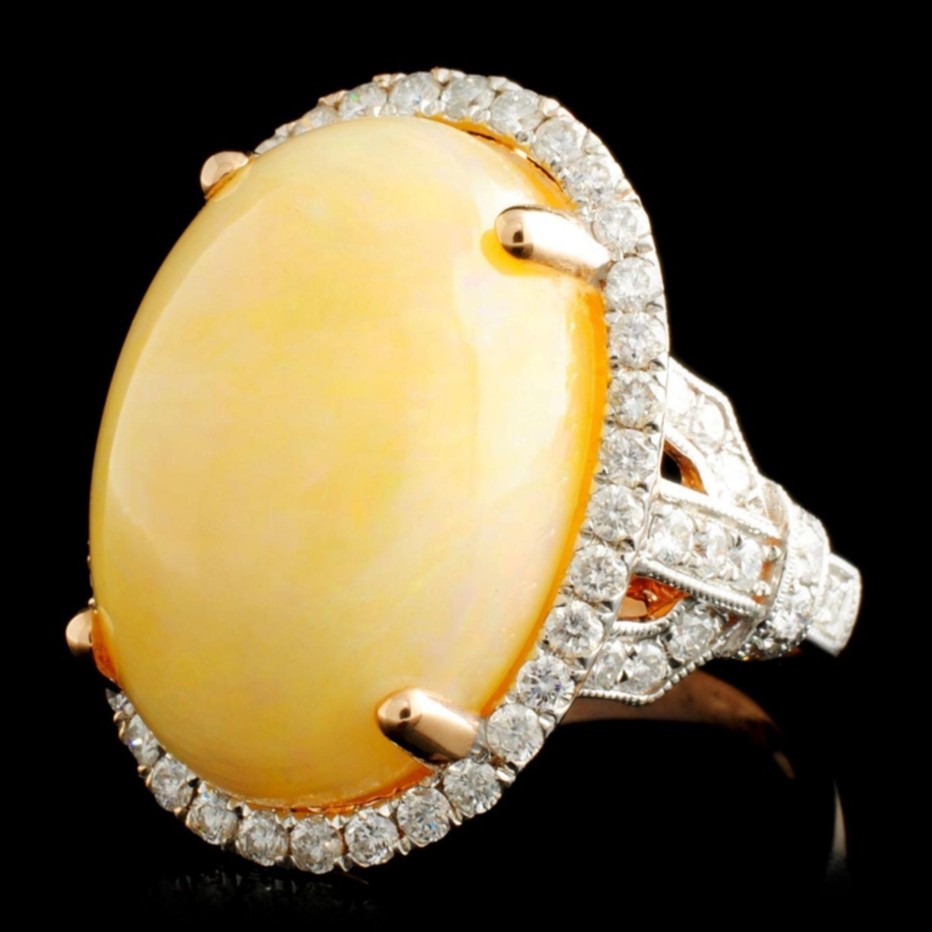 14K Gold 12.04ct Opal & 1.06ctw Diamond Ring - Image 2 of 5