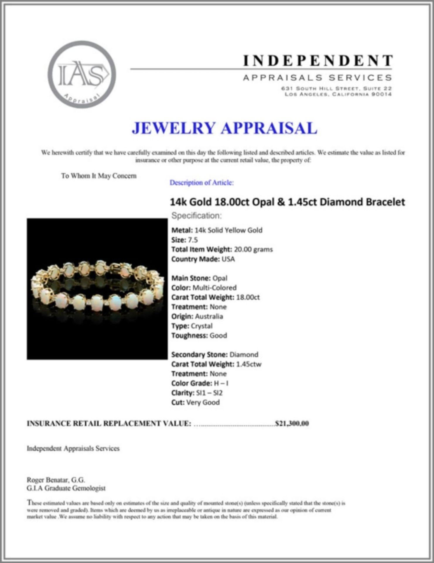 `14k Gold 18.00ct Opal & 1.45ct Diamond Bracelet - Image 3 of 3