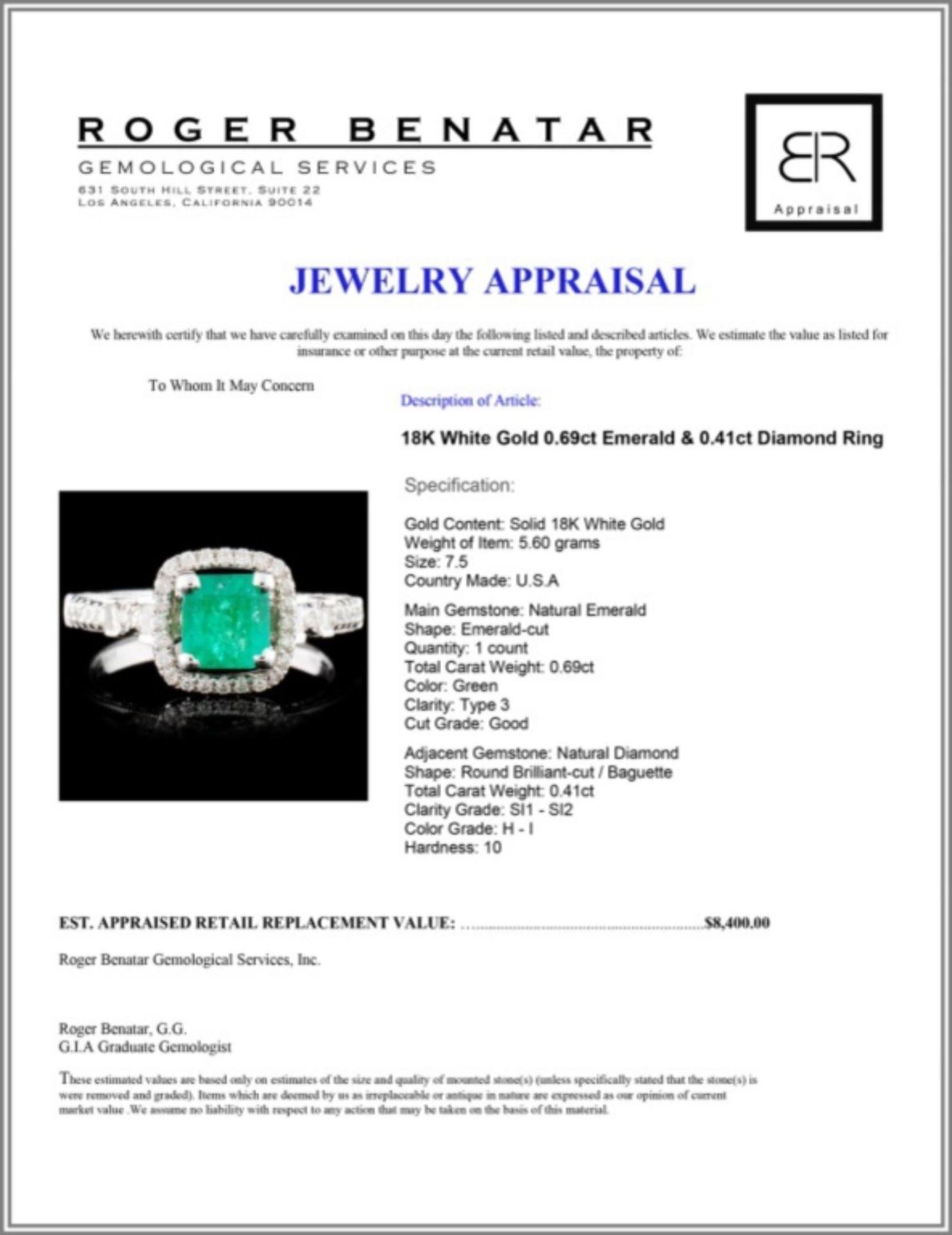 18K White Gold 0.69ct Emerald & 0.41ct Diamond Rin - Image 4 of 4