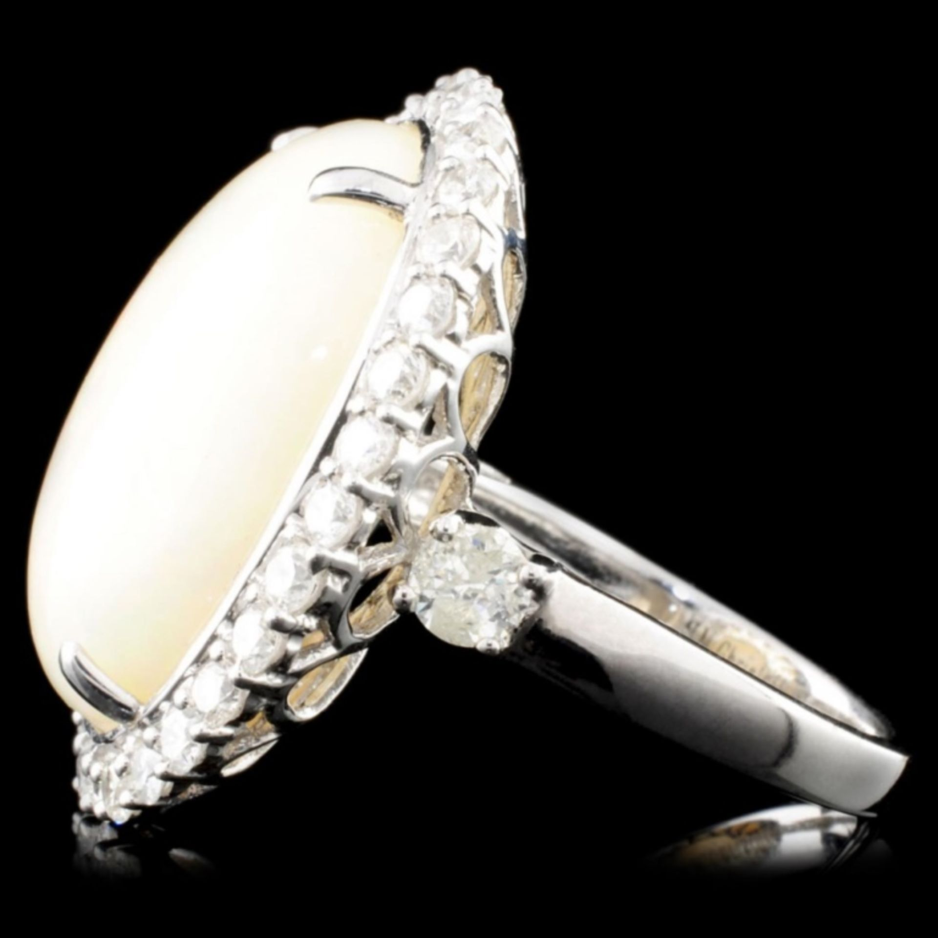 14K Gold 13.31ct Opal & 1.45ctw Diamond Ring - Image 3 of 3