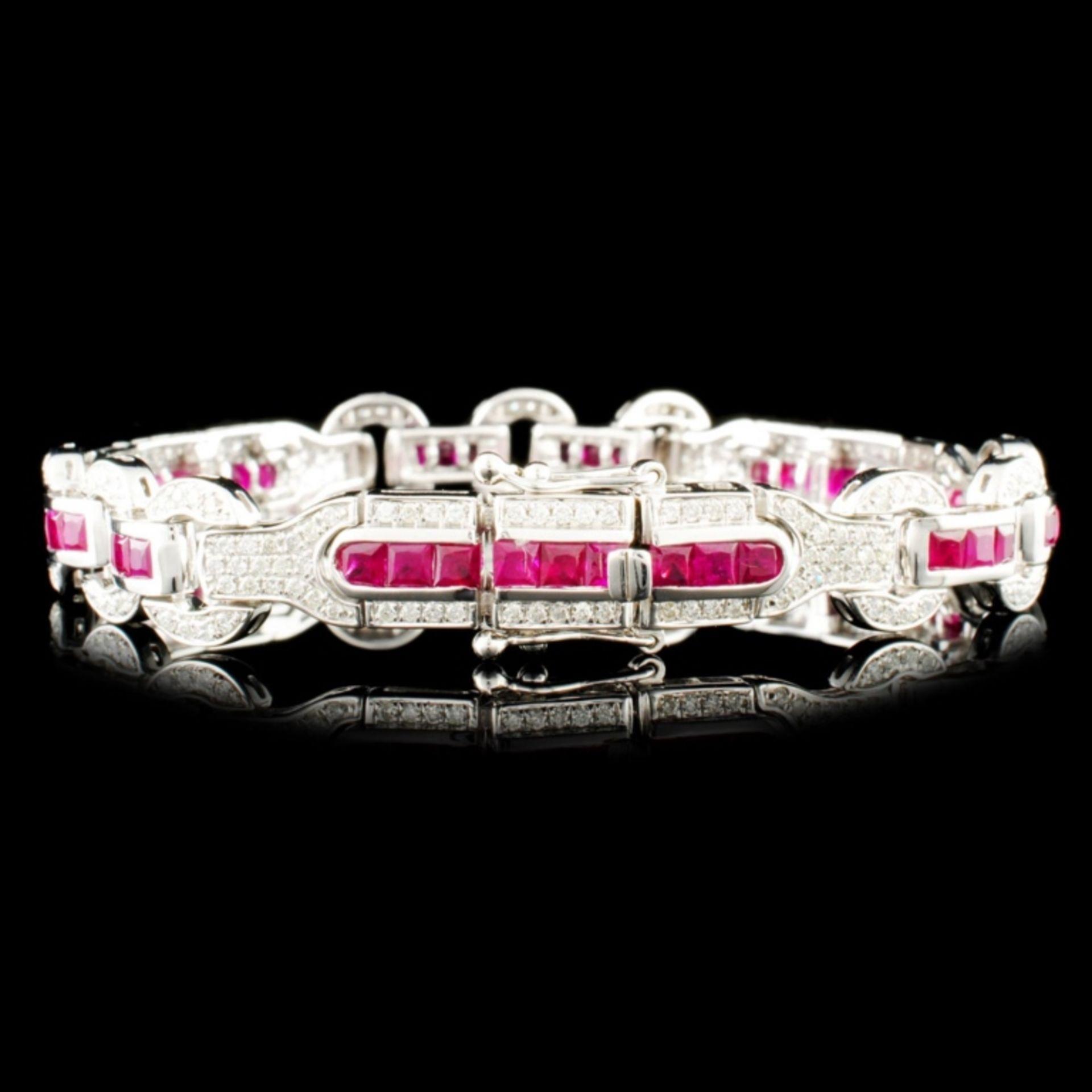 14K Gold 5.12ct Ruby & 1.30ctw Diamond Bracelet - Image 2 of 4