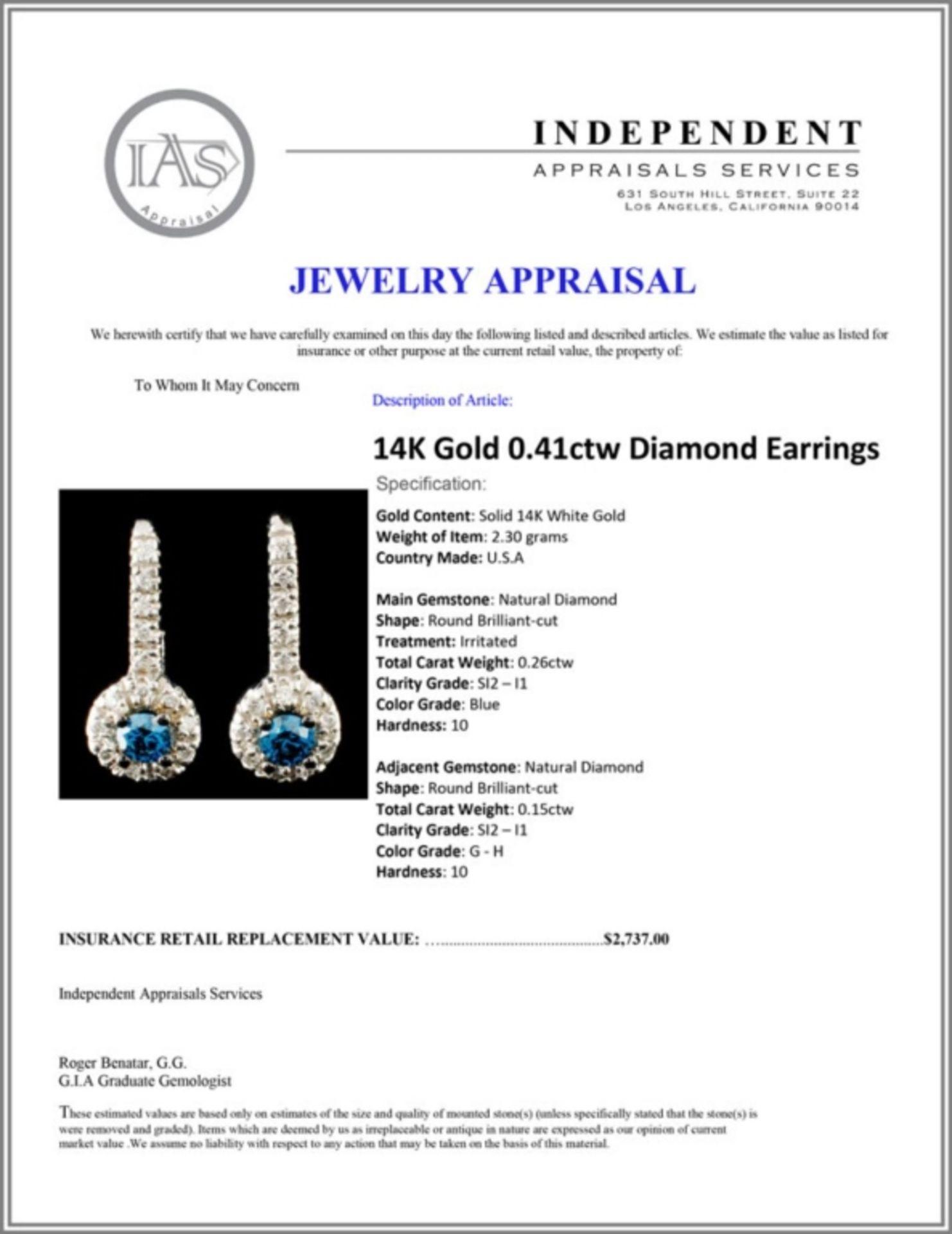 14K Gold 0.41ctw Diamond Earrings - Image 3 of 3