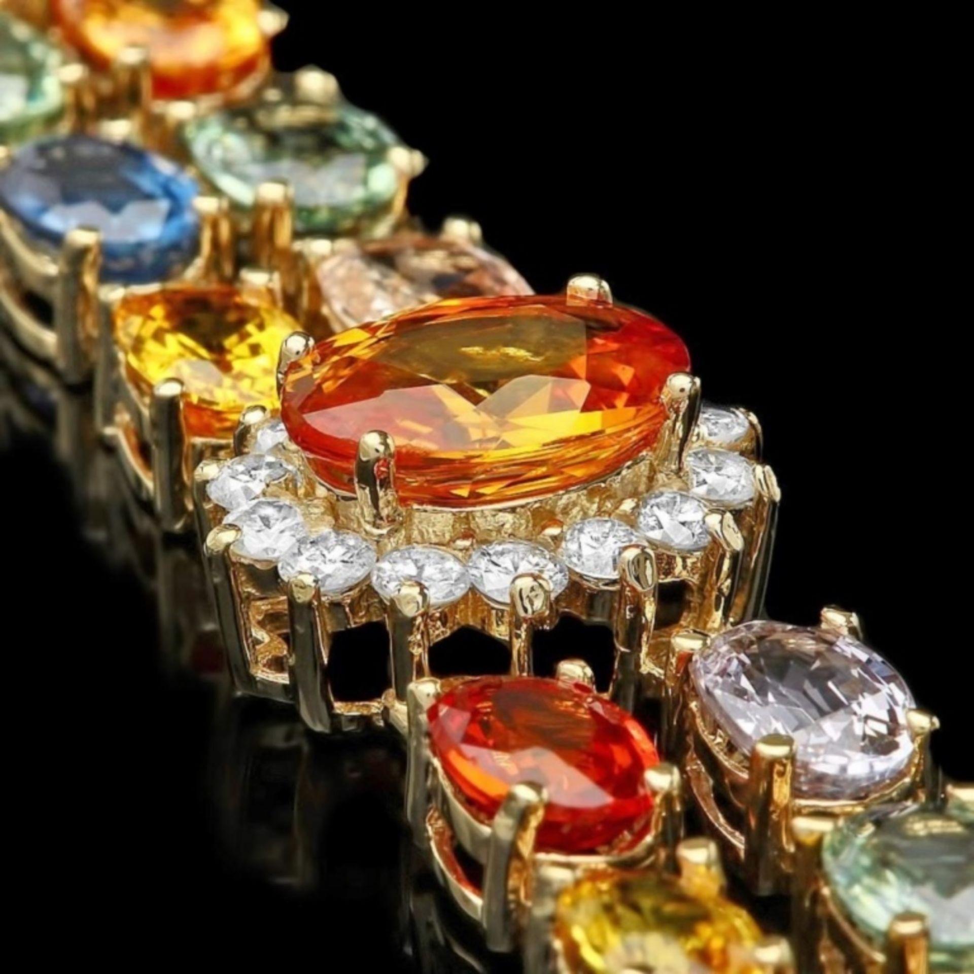 `14k Gold 27.00ct Sapphire & 1.40ct Diamond Bracel - Image 2 of 4