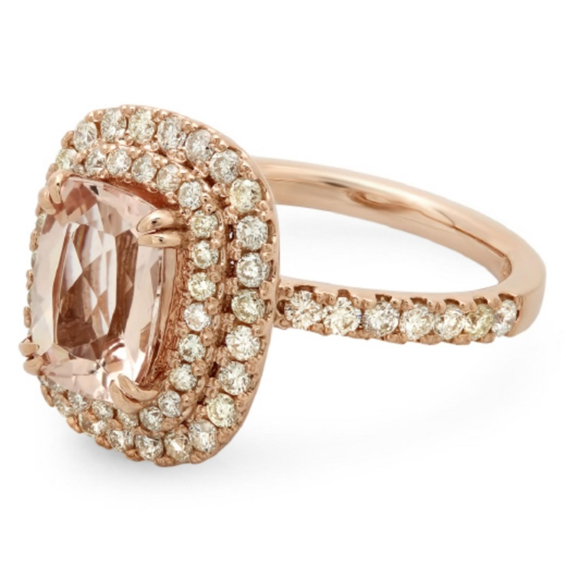14K Gold 2.00ct Morganite & 1.00ct Diamond Ring - Image 2 of 2