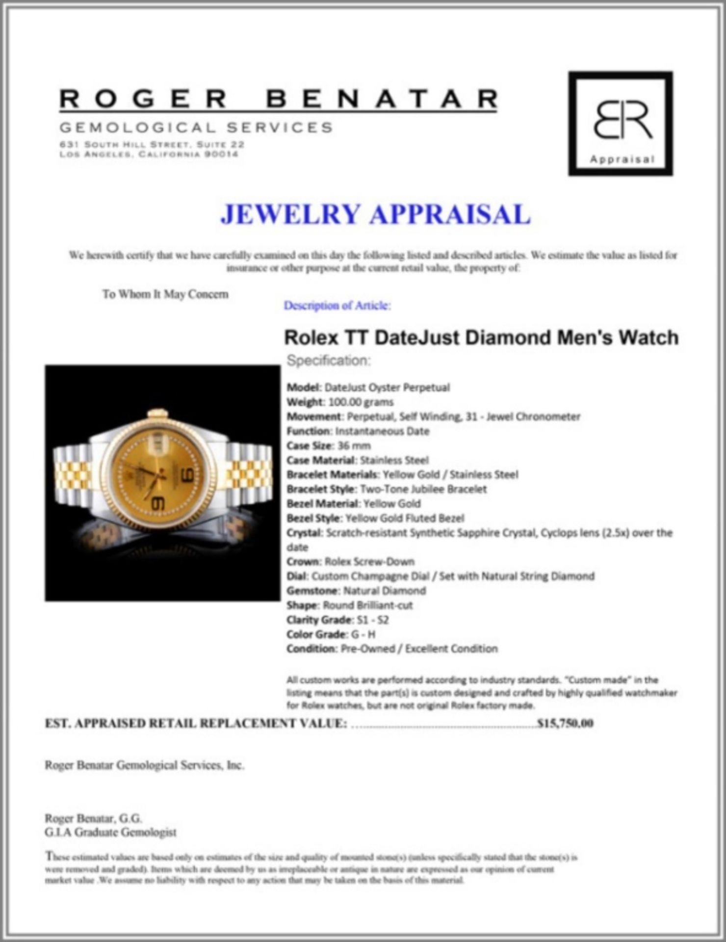 Rolex YG/SS DateJust Diamond 36MM Watch - Image 4 of 5
