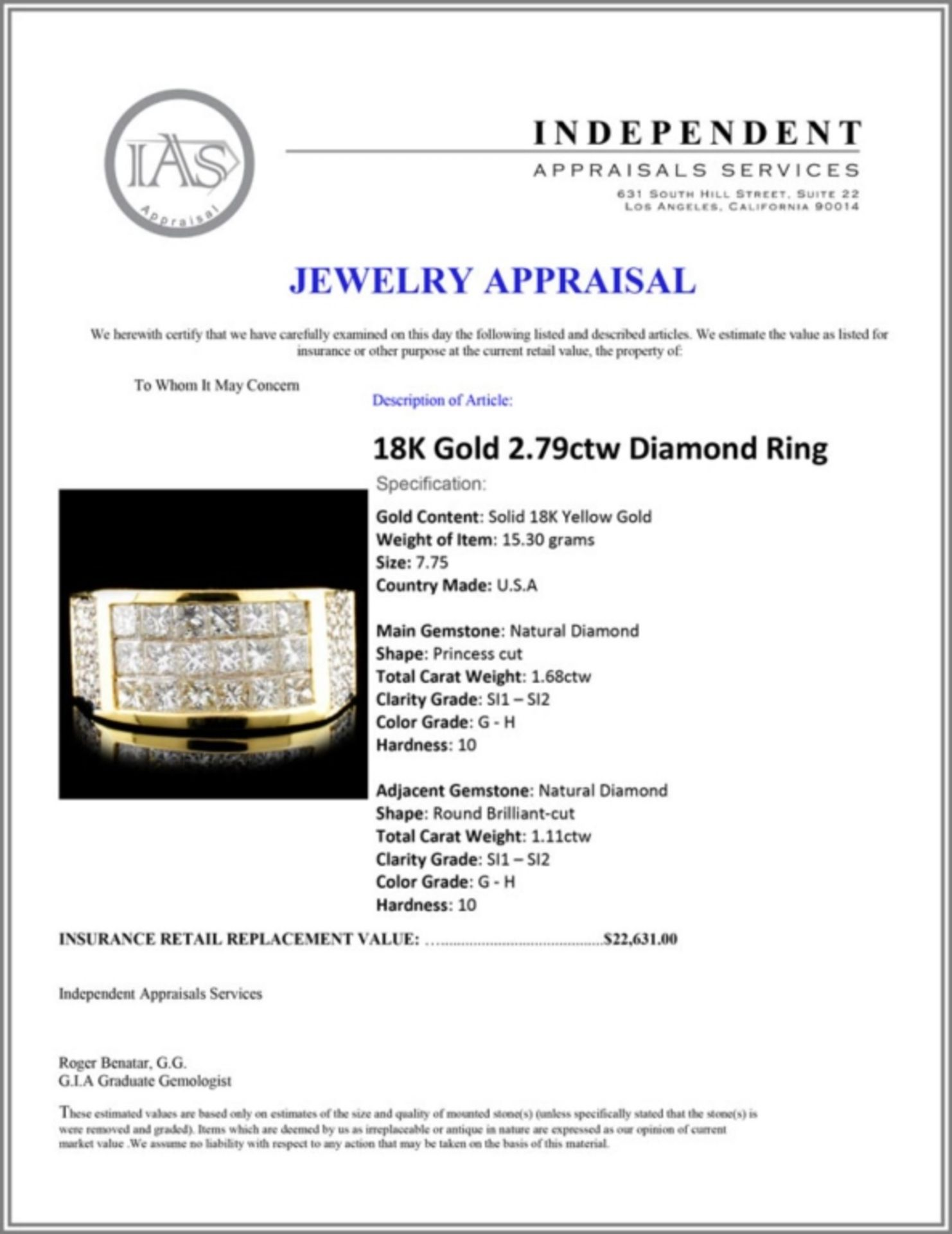 18K Gold 2.79ctw Diamond Ring - Image 5 of 5