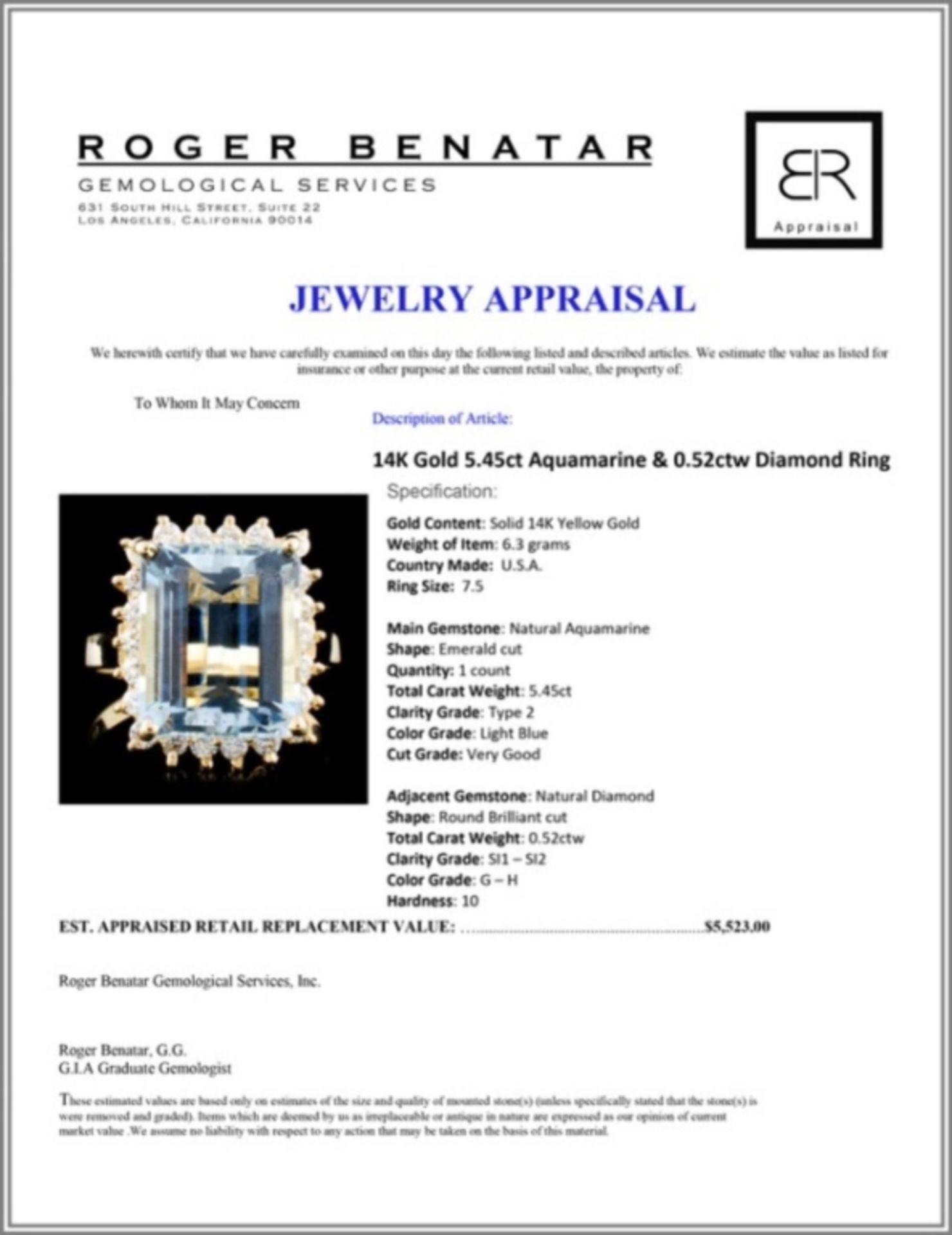 14K Gold 5.45ct Aquamarine & 0.52ctw Diamond Ring - Image 4 of 4