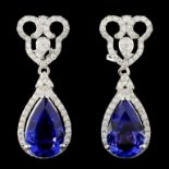 14K Gold 7.58ctw Tanzanite & 1.27ctw Diamond Earri