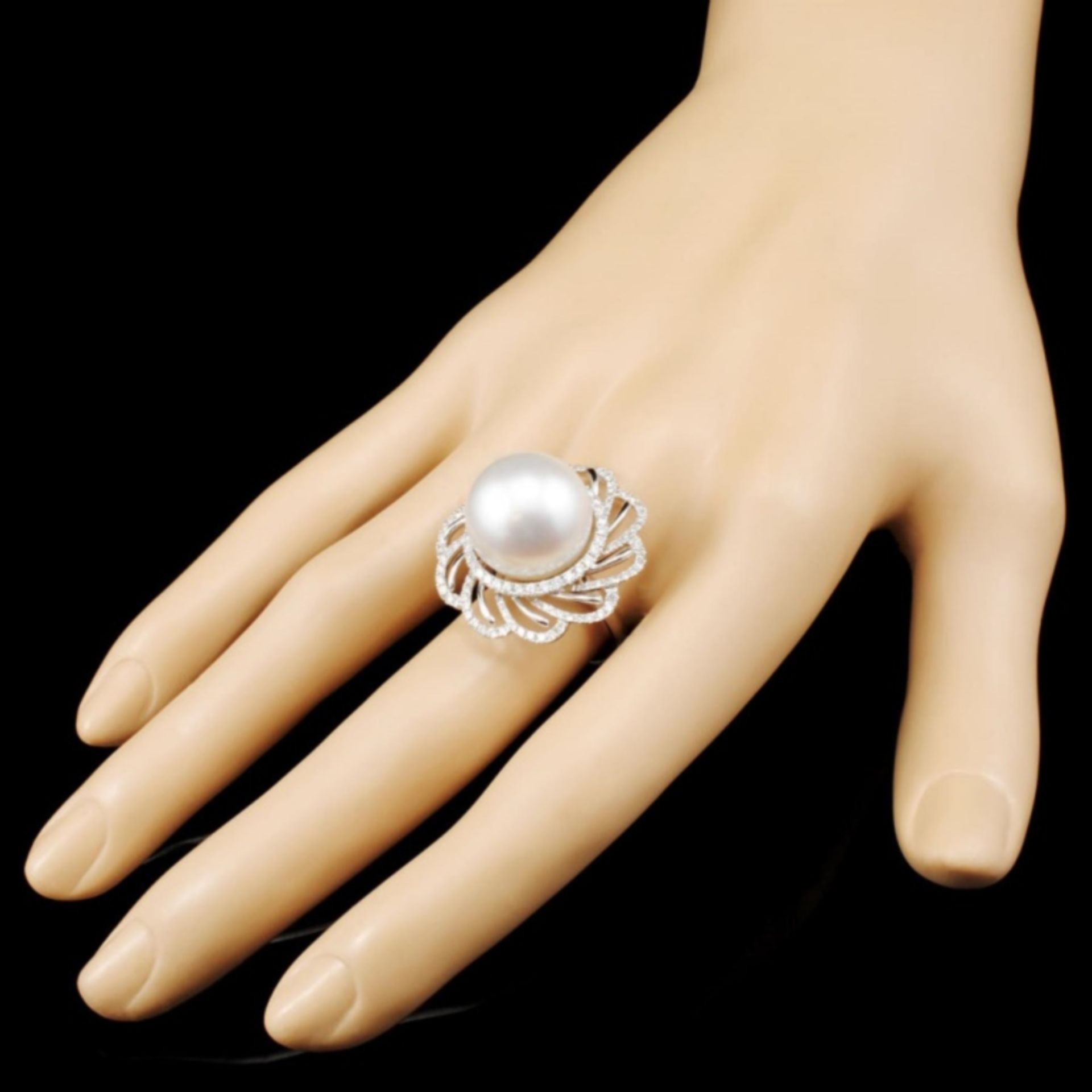 18K Gold 15.00MM Pearl & 1.02ctw Diamond Ring - Image 3 of 5