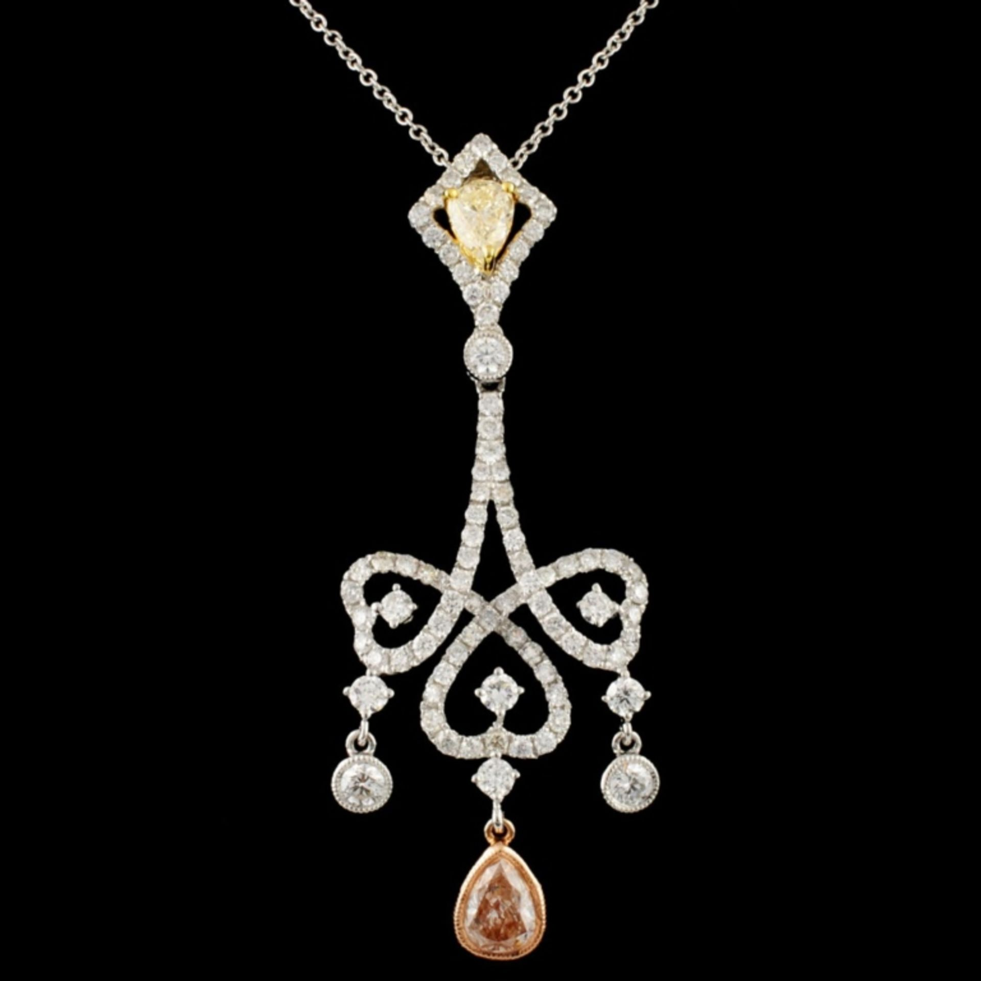 18K Gold 2.18ctw Fancy Diamond Pendant