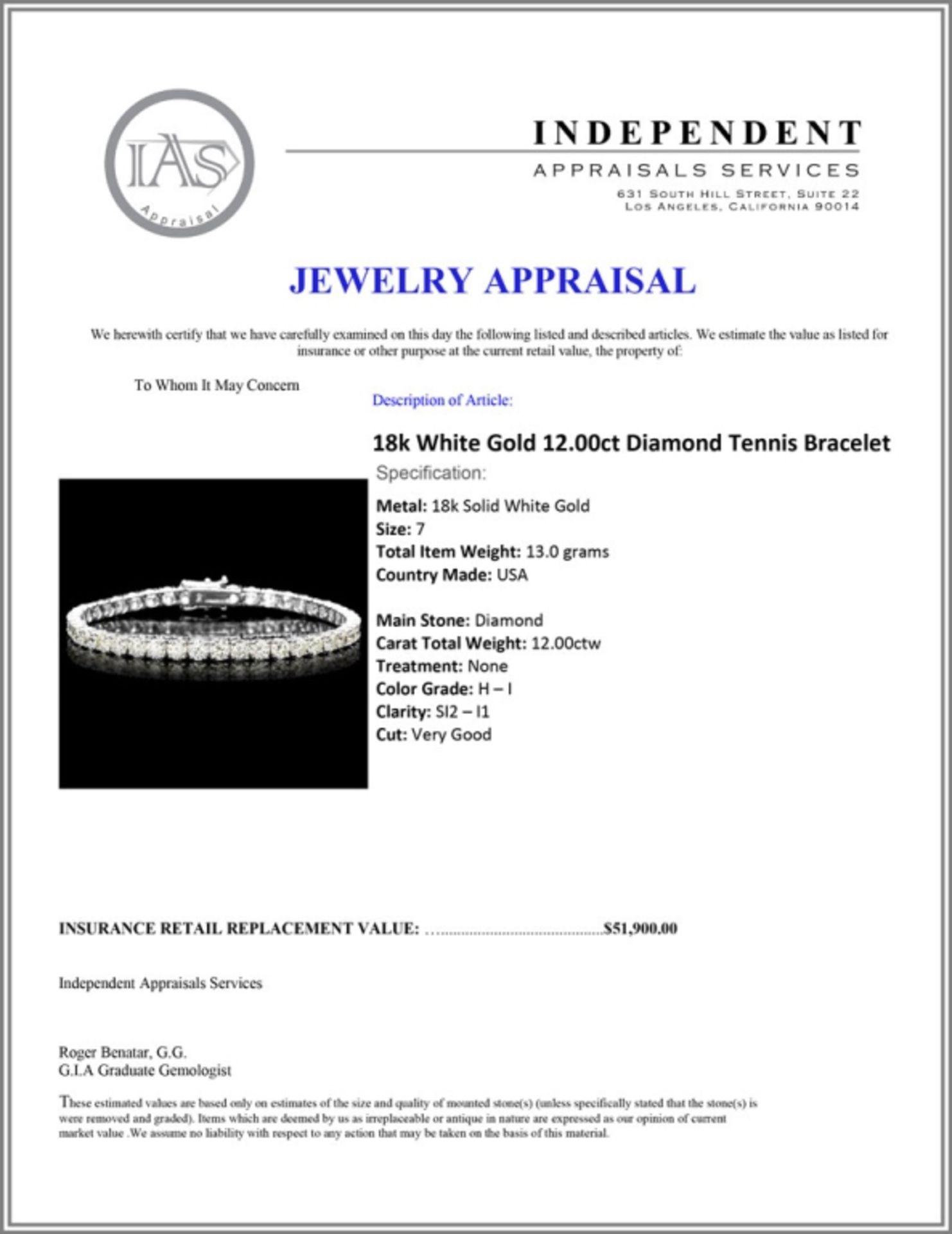 18k White Gold 12.00ct Diamond Tennis Bracelet - Image 4 of 4