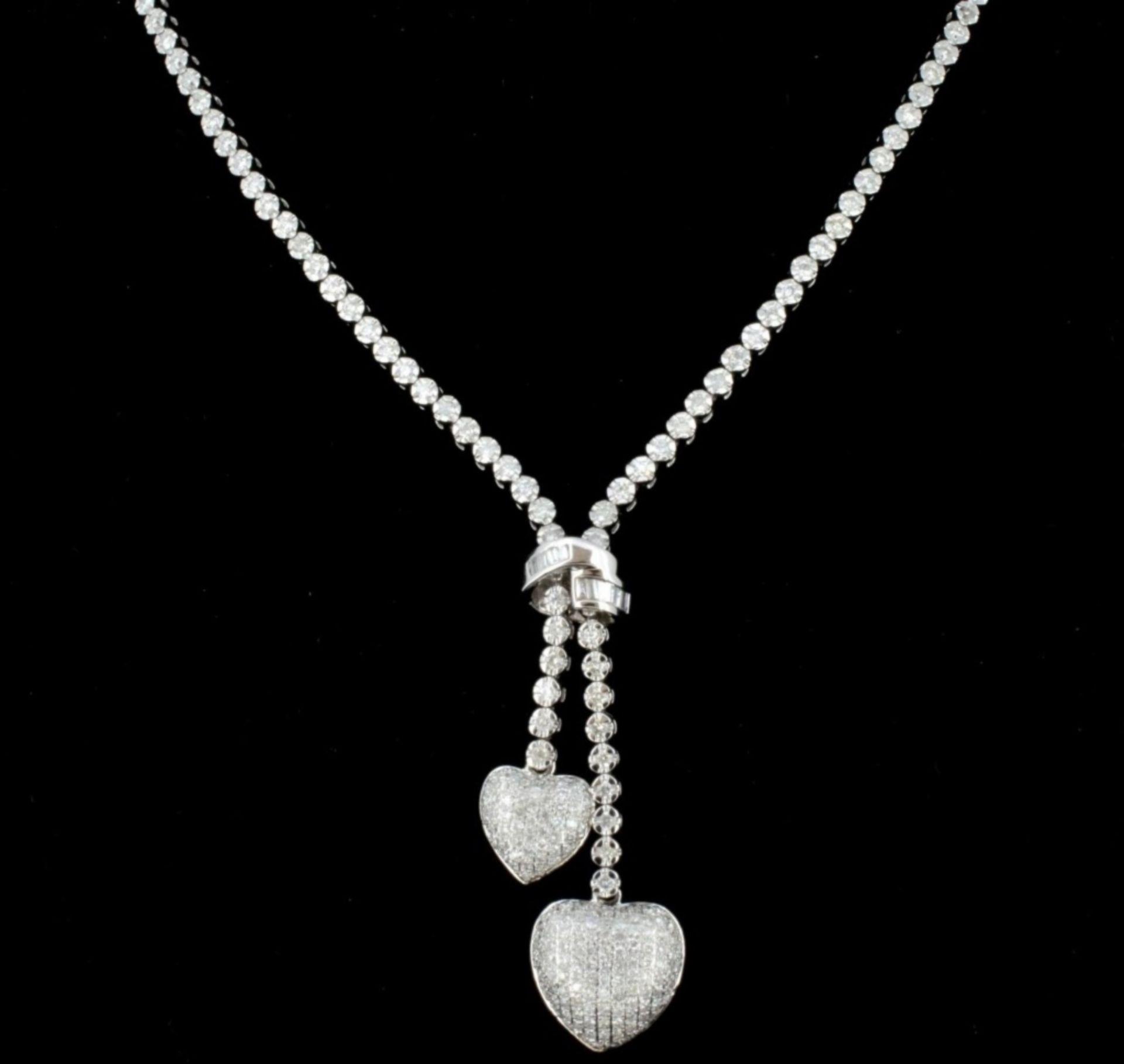 14K White Gold 2.82ct Lariat Style Diamond Neckla - Image 2 of 3