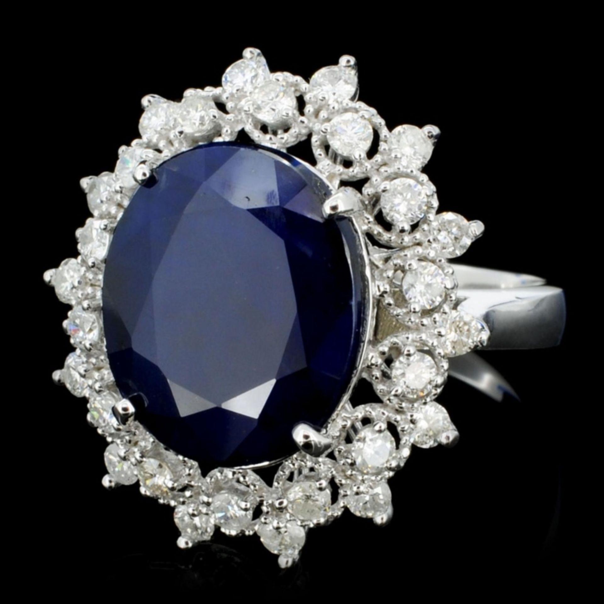 14K Gold 7.00ct Sapphire & 1.00ctw Diamond Ring - Image 2 of 4