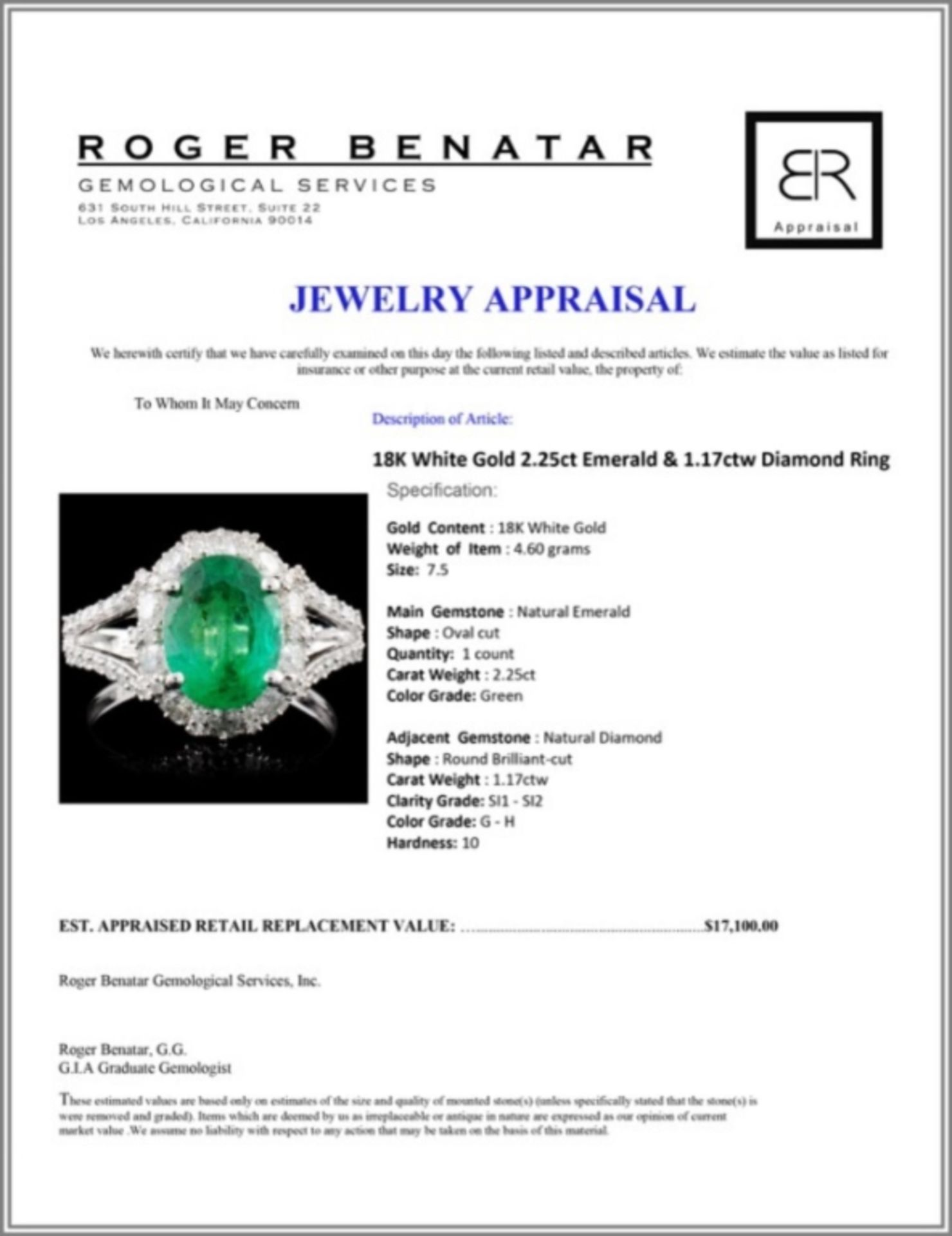 18K White Gold 2.25ct Emerald & 1.17ctw Diamond Ri - Image 4 of 4
