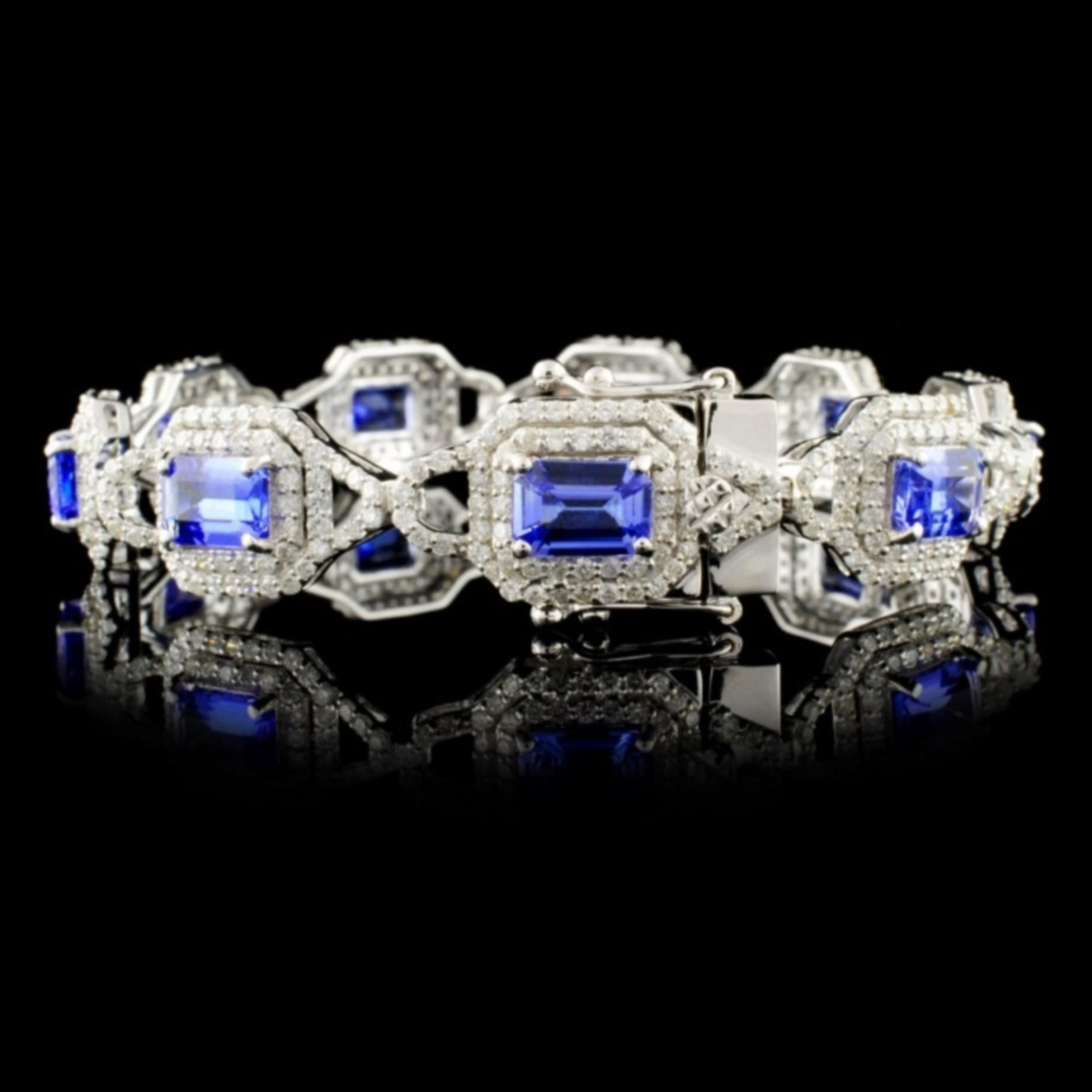 14K Gold 8.41ct Tanzanite & 3.91ctw Diam Bracelet - Image 2 of 3