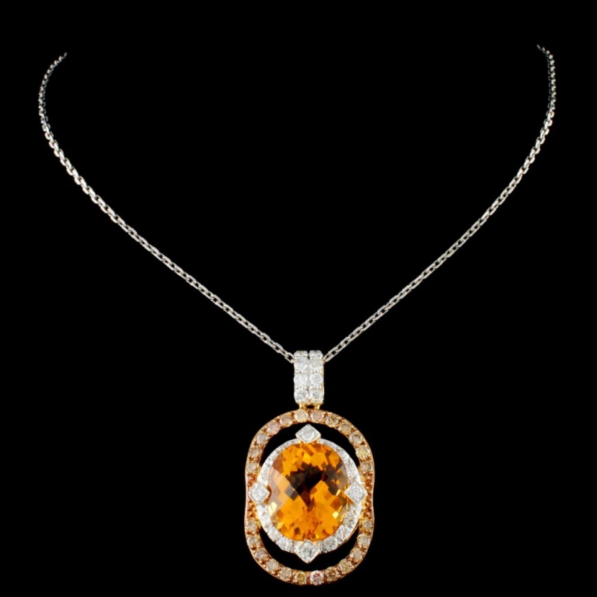 14K Gold 4.92ct Citrine & 1.05ctw Fancy Diamond Pe - Image 2 of 2